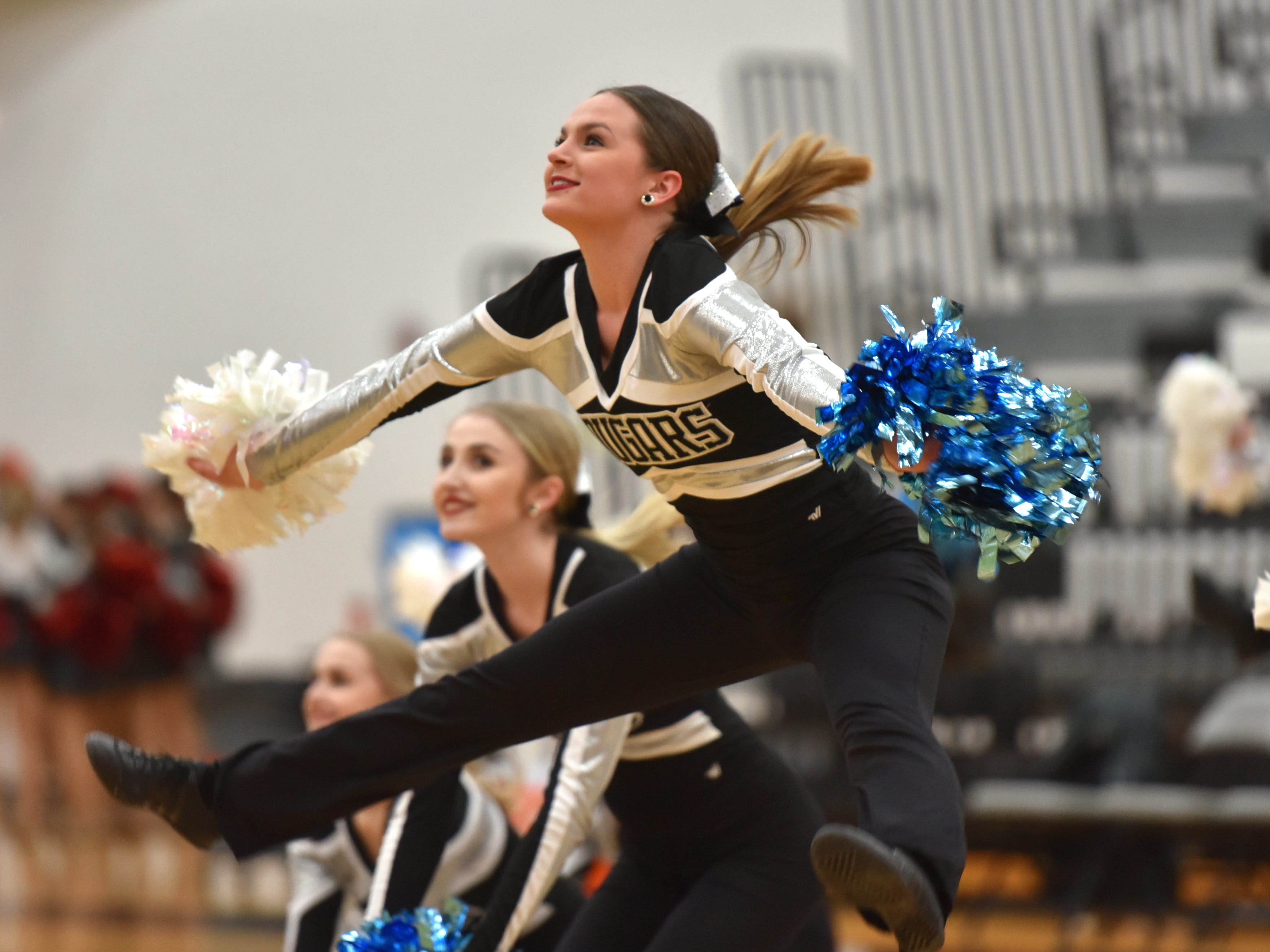 Members of the South Lyon East pom-pon team perform at halftime of Friday's game.