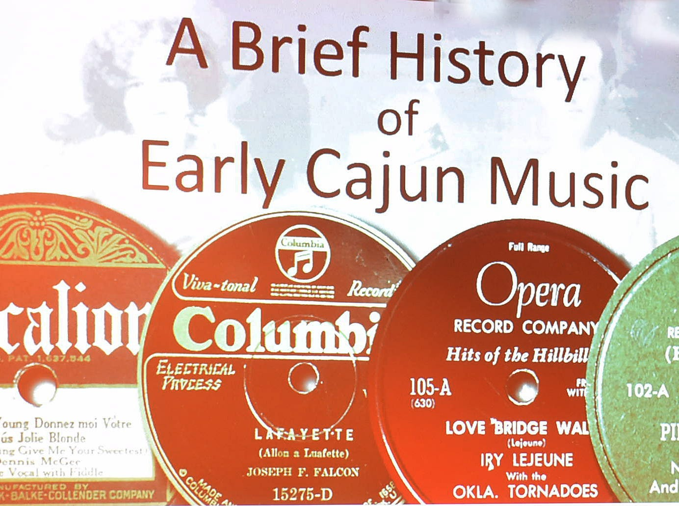 Imperial St. Landry Genealogical Society monthly meeting held Saturday with Wade Falcon presenting a talk on the early Cajun music recordings in St. Landry Parish.