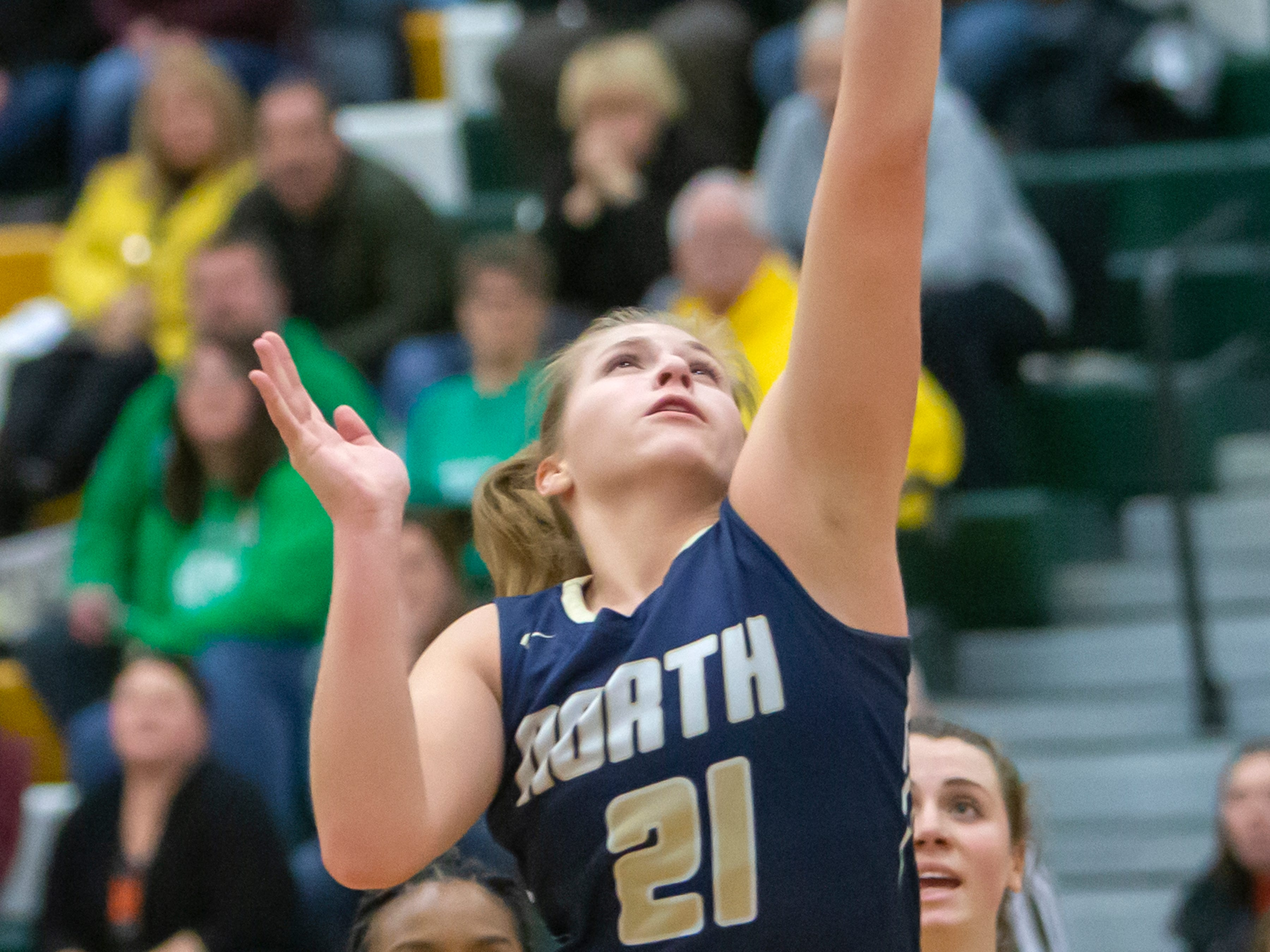 Appleton North's Lilli Van Handel shoots during the girls basketball game Friday against Oshkosh North, February 8, 2019, in Oshkosh, Wis., at Oshkosh North High School.