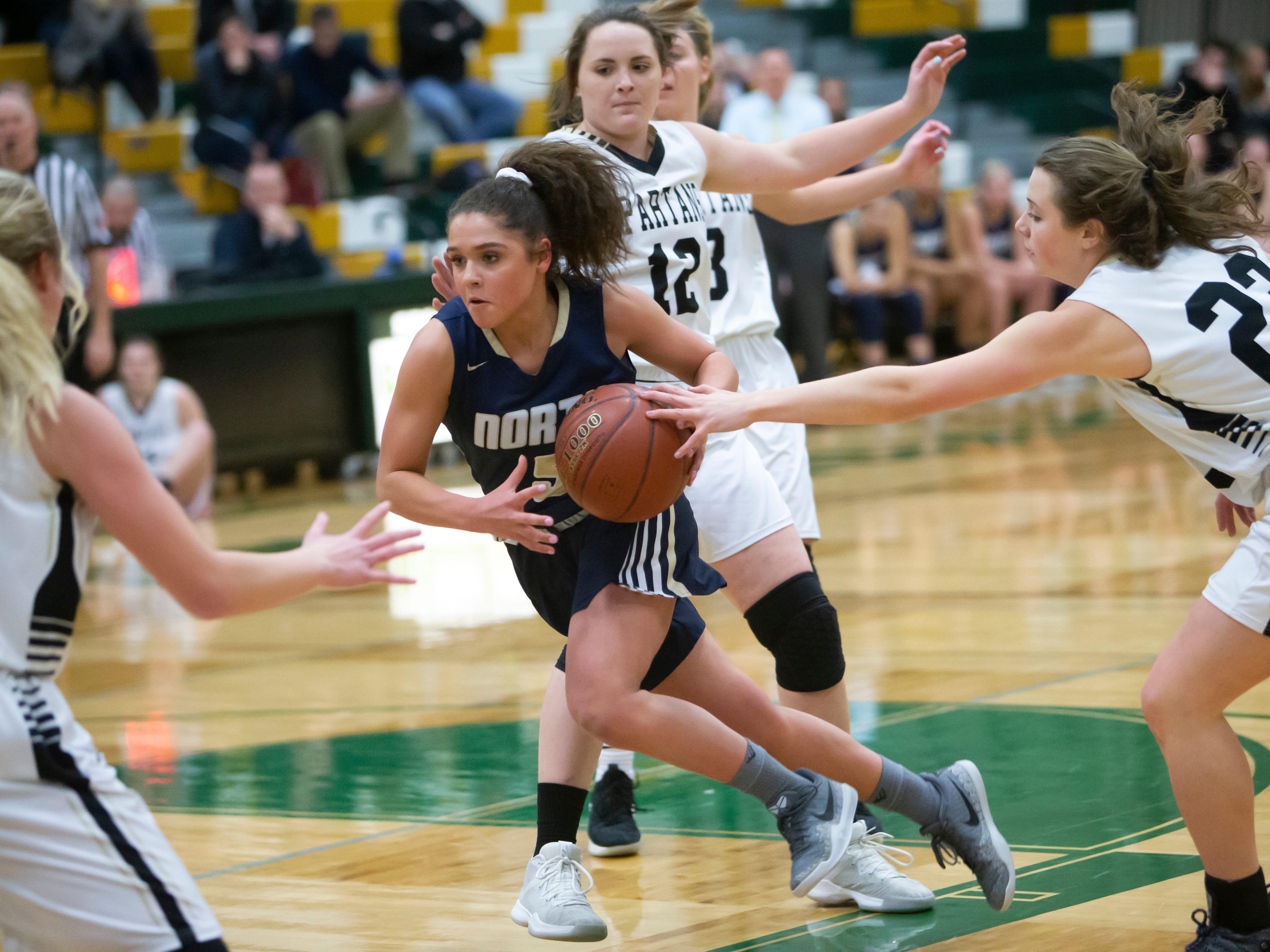 Appleton North's Niki Van Wyk drives the ball through Spartan traffic during the girls basketball game Friday, February 8, 2019, in Oshkosh, Wis., at Oshkosh North High School.