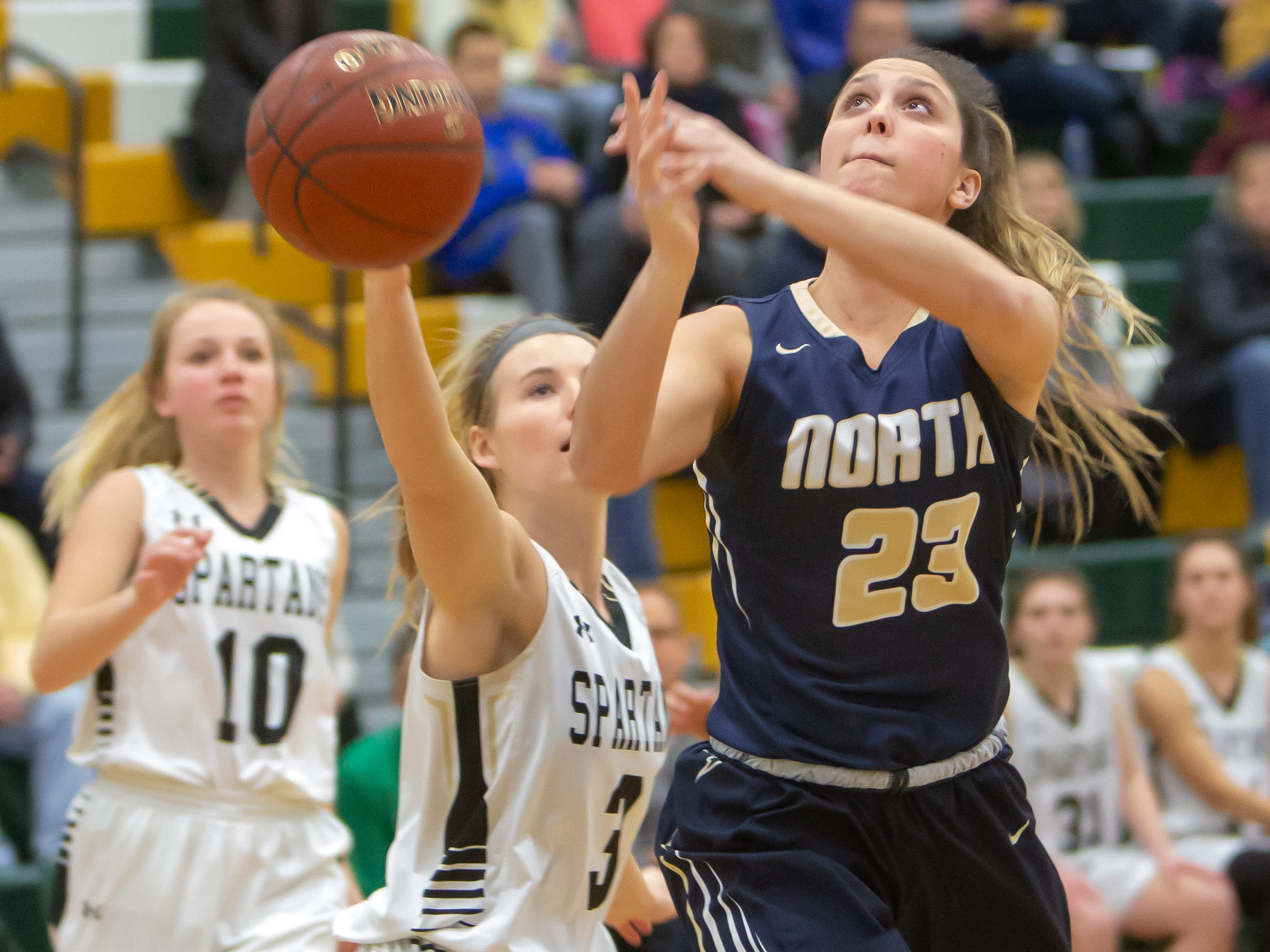 Appleton North's Paige Schabo loses control of the ball during a shot at girls basketball game against the Spartans Friday, February 8, 2019, in Oshkosh, Wis., at Oshkosh North High School.
