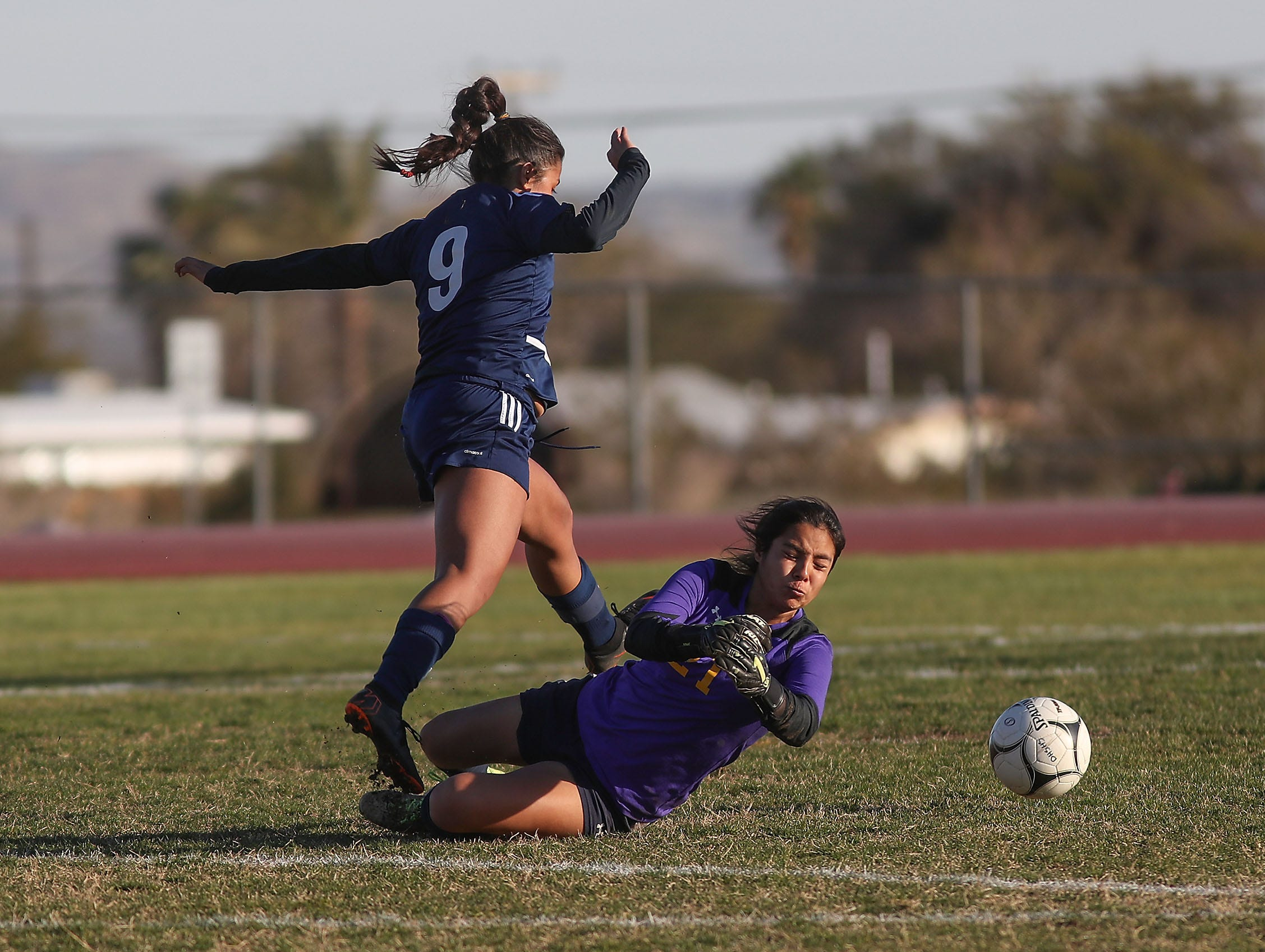 Britny Gutierez, 9, of Desert Hot Springs tries to get the ball past the Santa Clara goalkeeper during their match, February 8, 2019.
