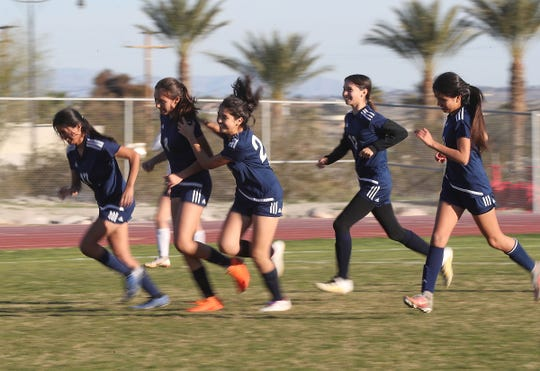Desert Hot Springs gets a score against Santa Clara during their match, February 8, 2019.