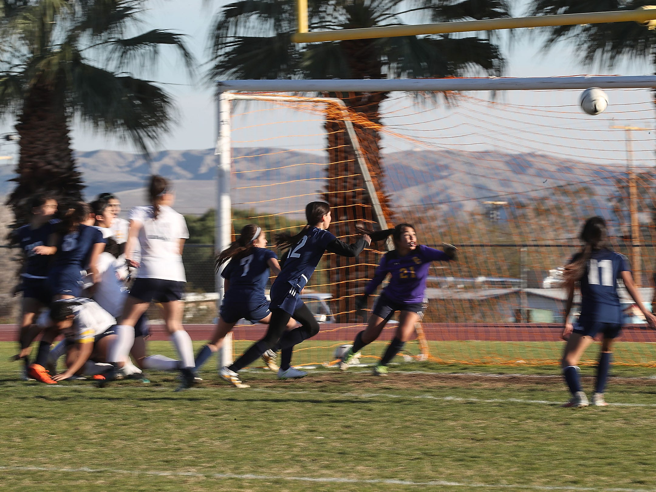Desert Hot Springs scores on a corner kick against Santa Clara during their match, February 8, 2019.