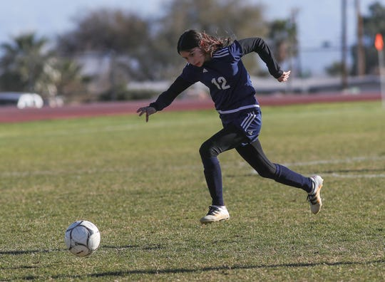 Ariana Soto, 12, of Desert Hot Springs brings the ball upfield against Santa Clara during their match, February 8, 2019.