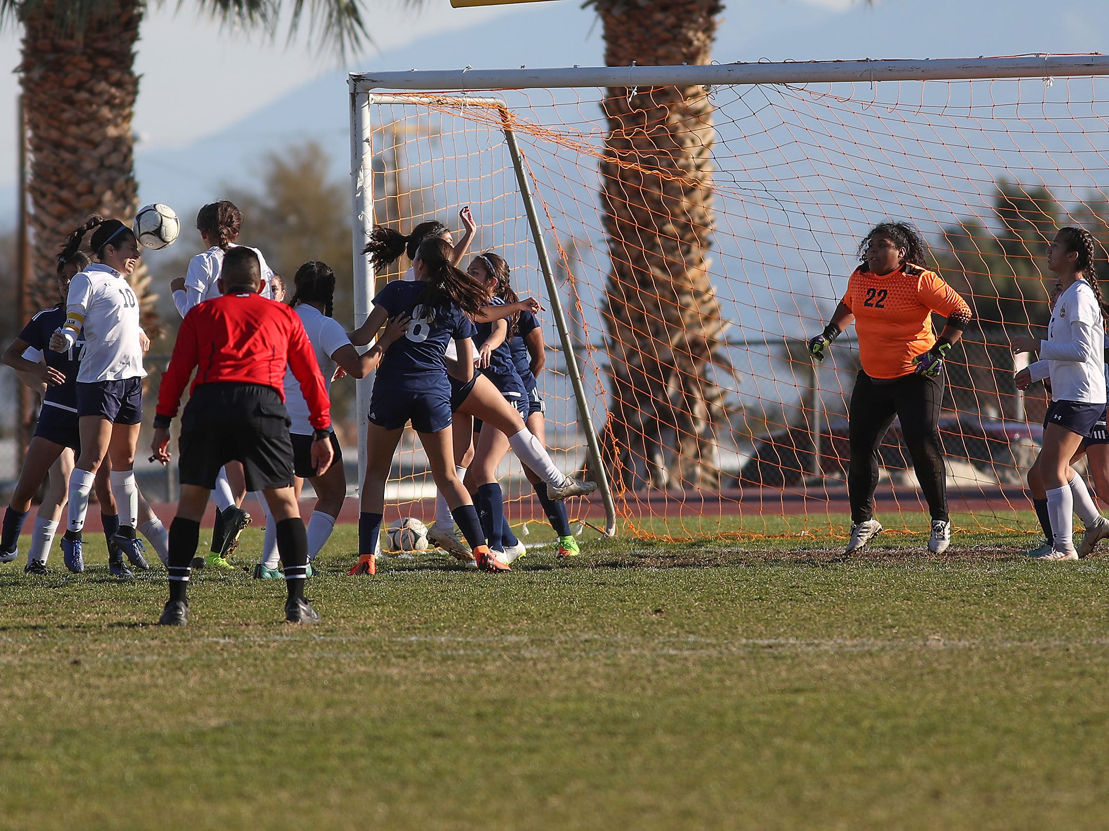 Santa Clara scores on a header from a corner kick againt Desert Hot Springs during their match, February 8, 2019.