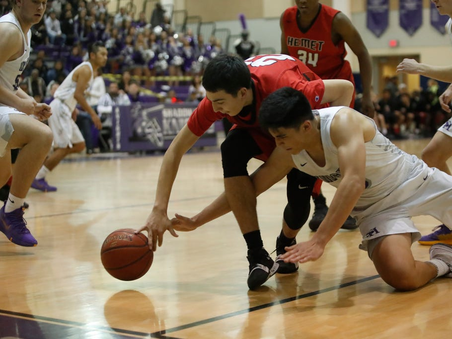 Shadow Hills High School in white uniform hosted Hemet in Indio on February 8, 2019.