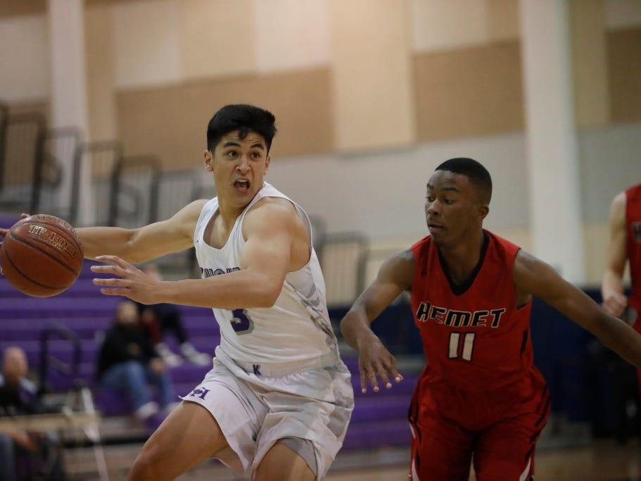 Shadow Hills High School's Dominic Escobar scores against Hemet in Indio on February 8, 2019.