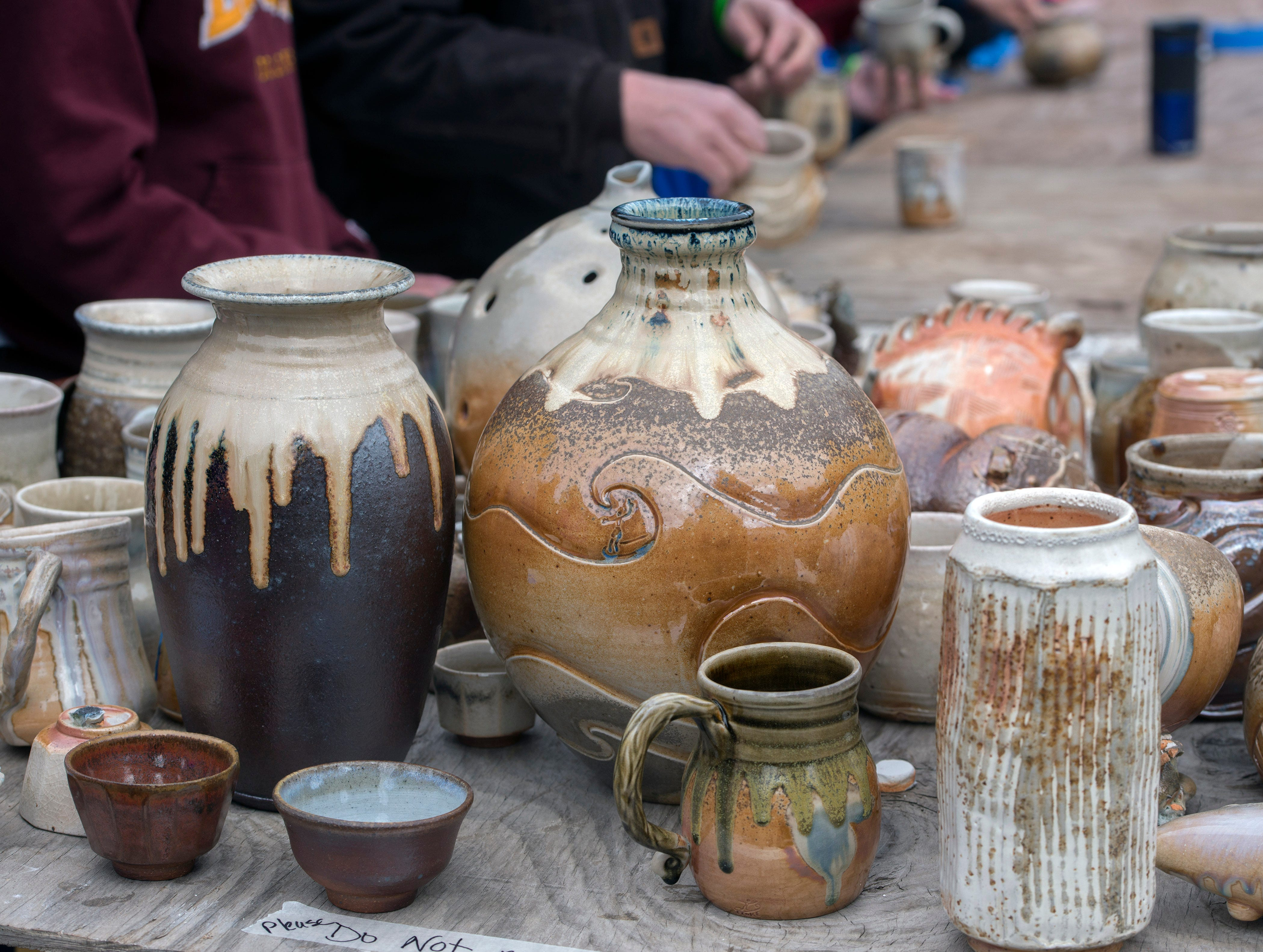 Pottery on display Saturday, February 9, 2019, during the 14th annual Woodstoke Pottery and Kiln Festival at Holly Hill Pottery in Navarre.
