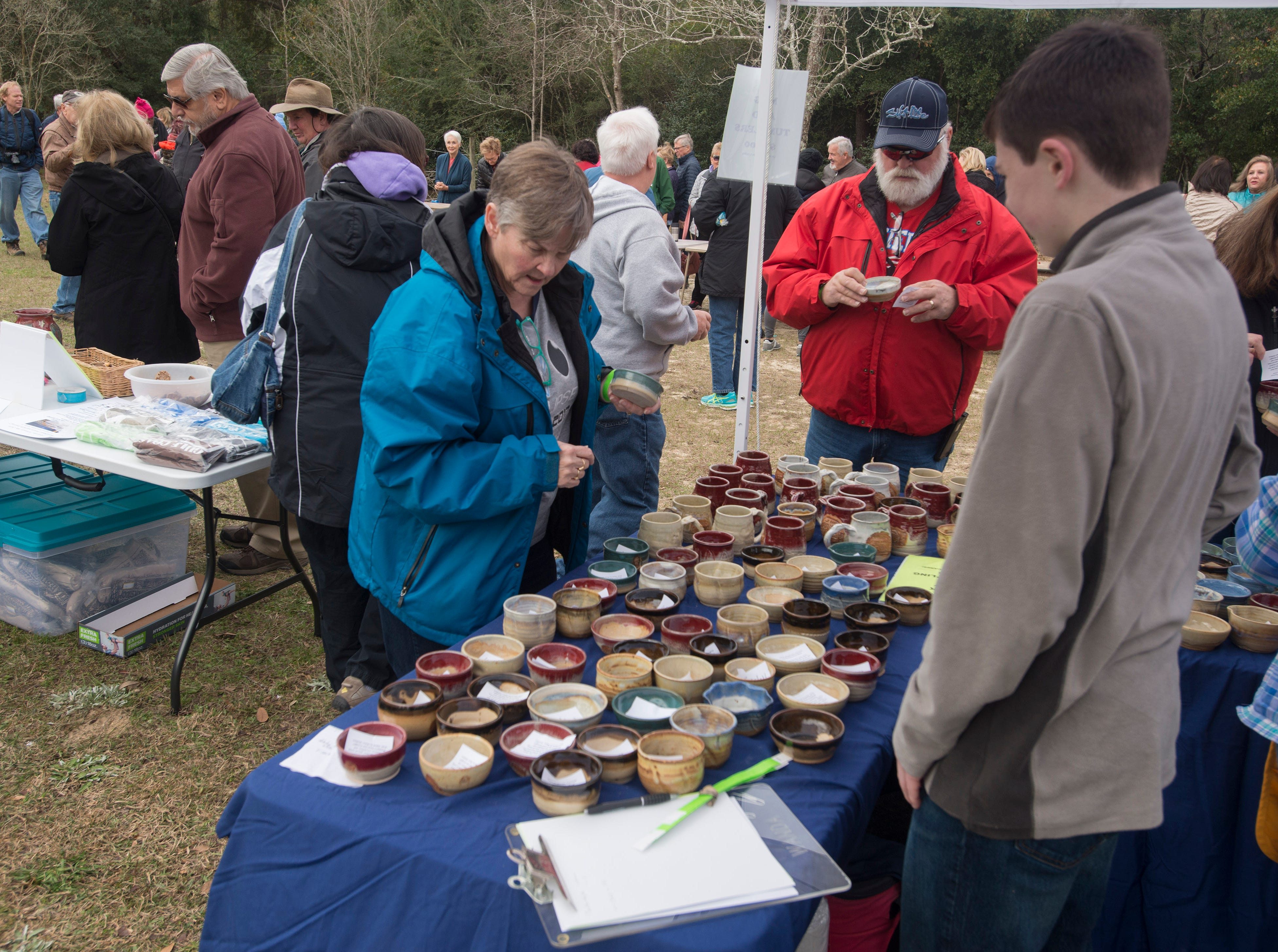 Pottery for sale Saturday, February 9, 2019, during the 14th annual Woodstoke Pottery and Kiln Festival at Holly Hill Pottery in Navarre.