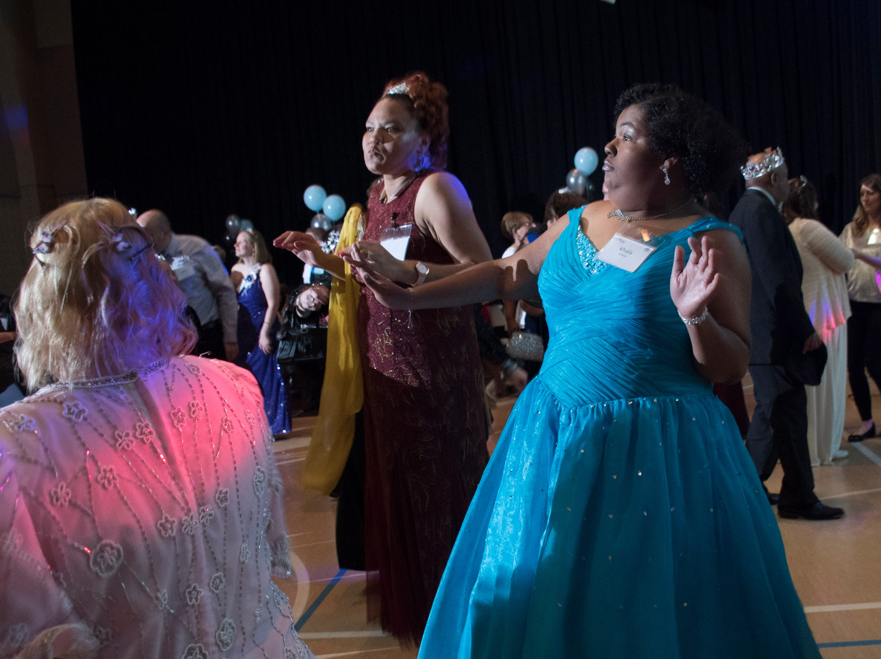 Khala Jackson shows her dance moves during the Night to Shine prom for people with special needs sponsored by the Tim Tebow Foundation at Perdido Bay United Methodist Church in Pensacola on Friday, February 8, 2019.