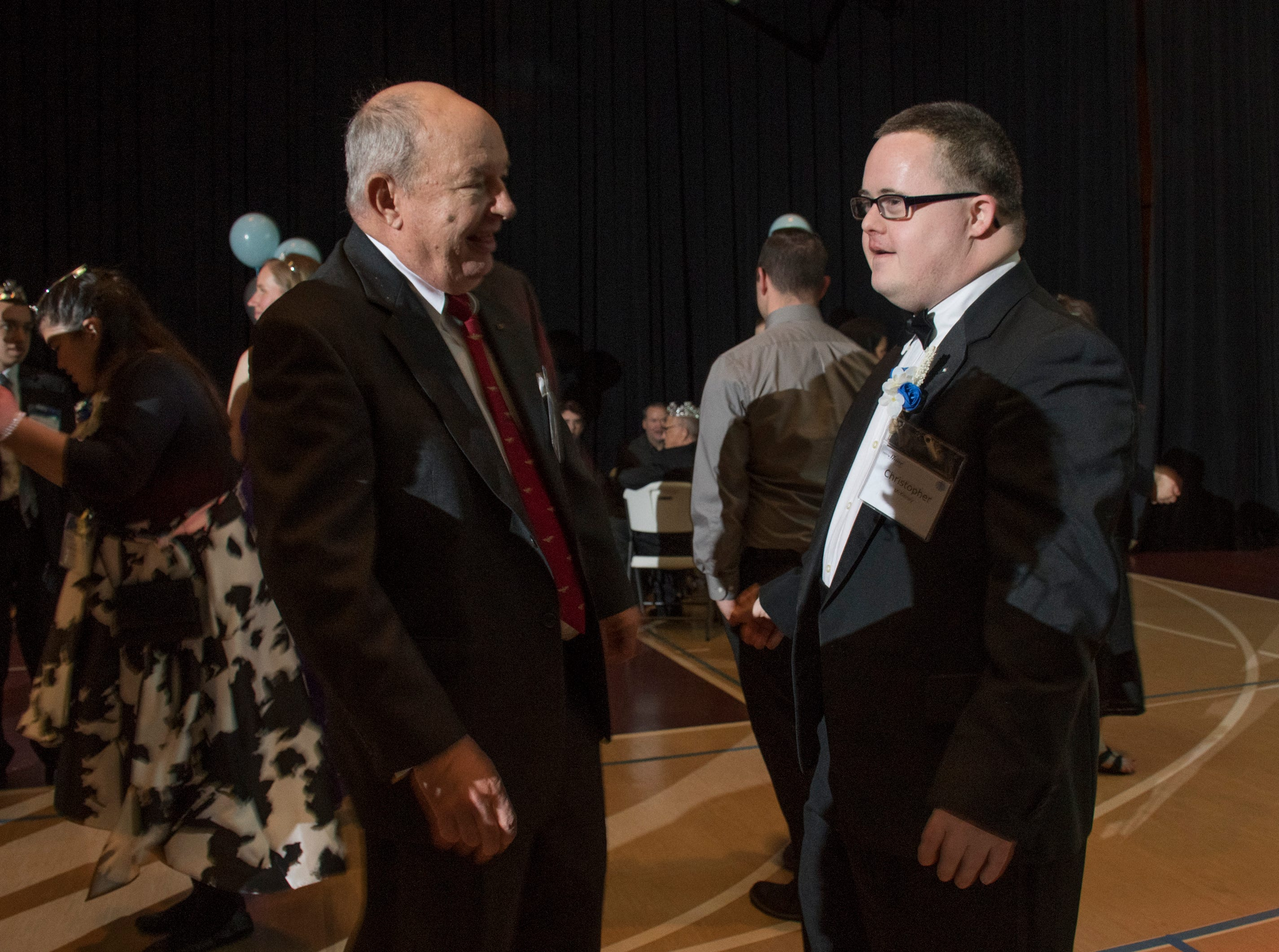 Bill McCormick and Christopher McKinney hit the dance floor during the Night to Shine prom for people with special needs sponsored by the Tim Tebow Foundation at Perdido Bay United Methodist Church in Pensacola on Friday, February 8, 2019.