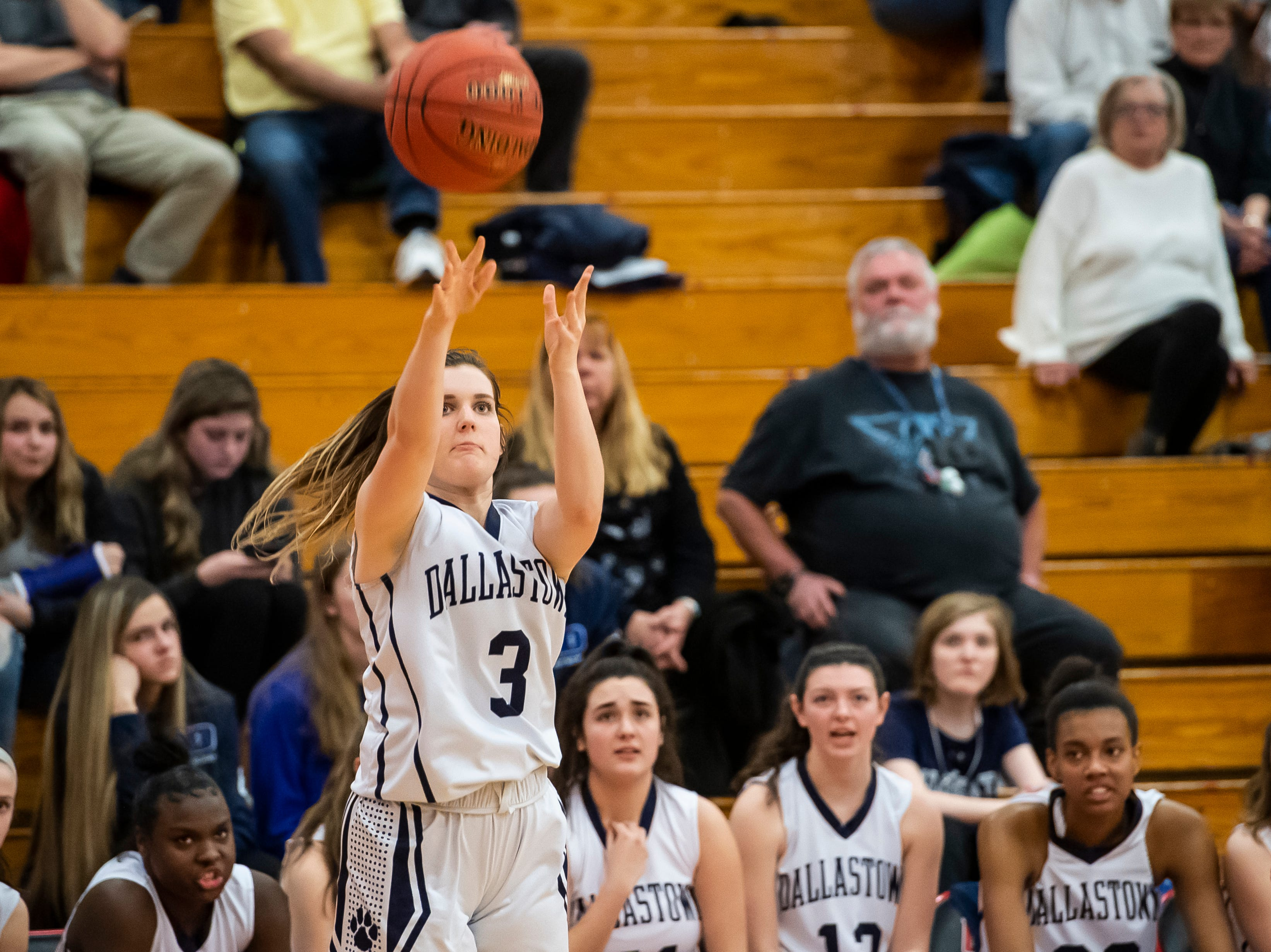 Dallastown's Claire Teyral shoots a corner three during play against Susquehannock in a YAIAA quarterfinal game at Dover High School Friday, February 8, 2019. The Wildcats won 42-29.