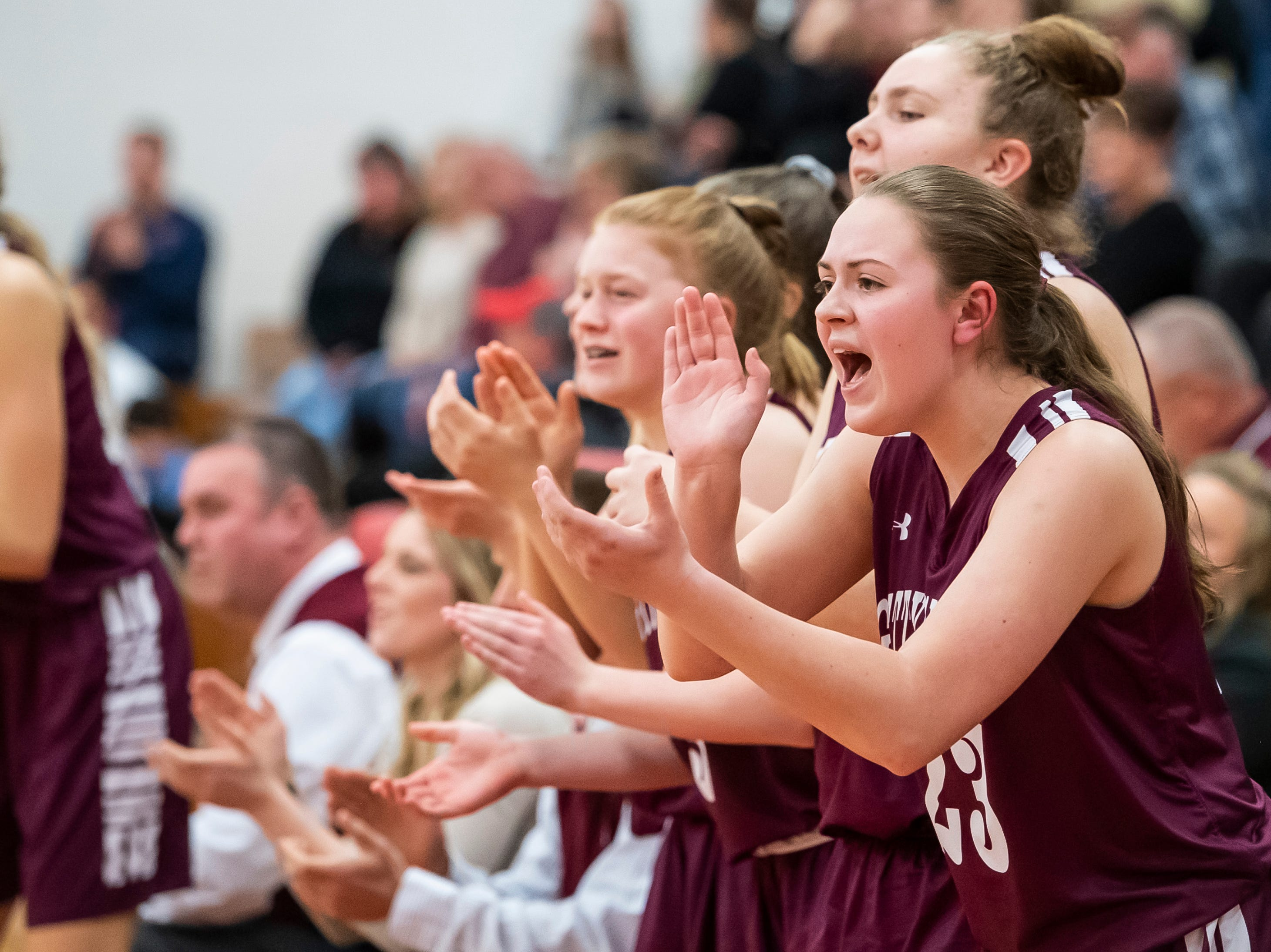 The Gettysburg bench celebrates during play against Delone Catholic in a YAIAA quarterfinal game at Dover High School Friday, February 8, 2019.