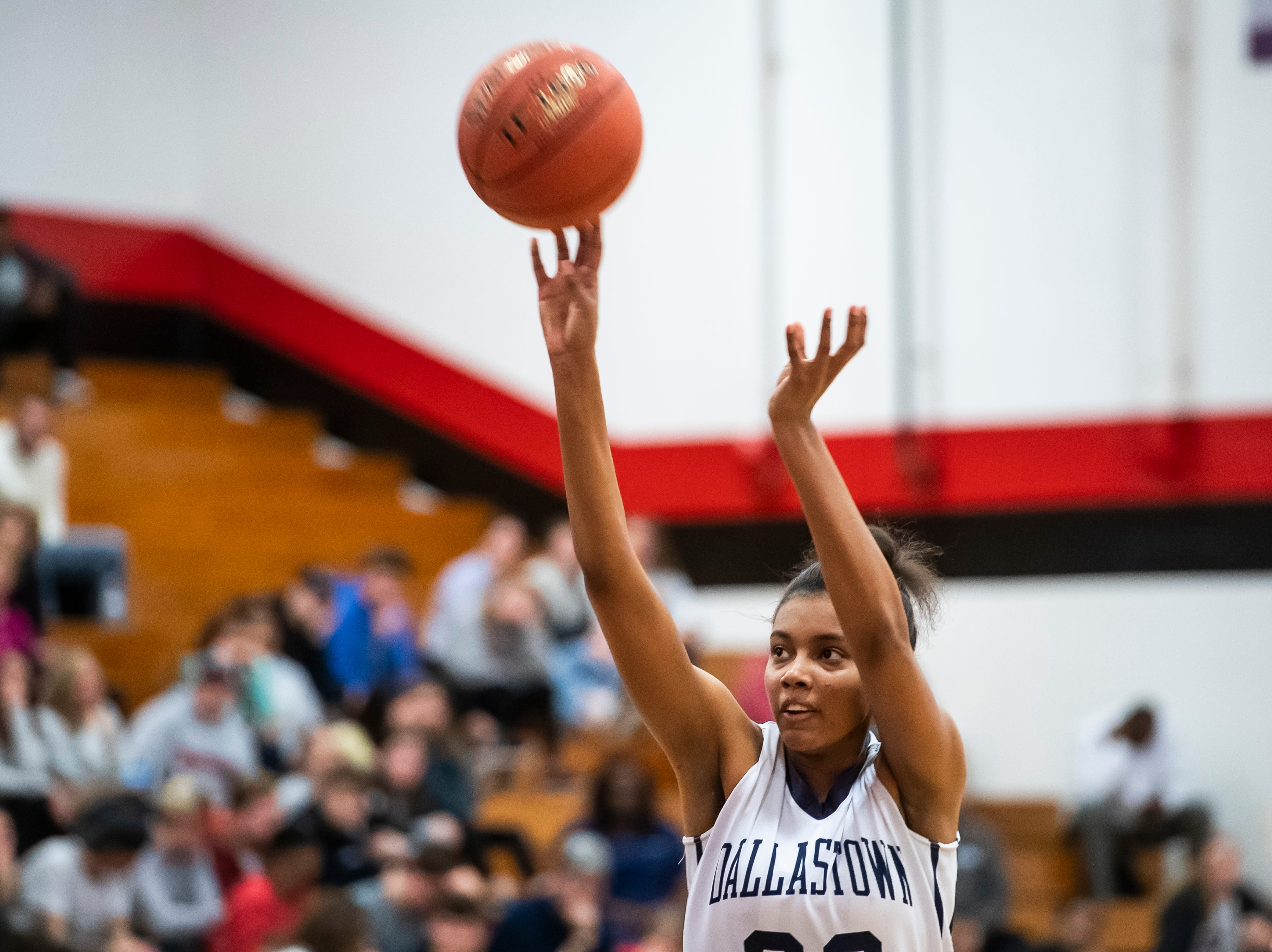 Dallastown's Aniya Matthews shoots a free throw during play against Susquehannock in a YAIAA quarterfinal game at Dover High School Friday, February 8, 2019. The Wildcats won 42-29.