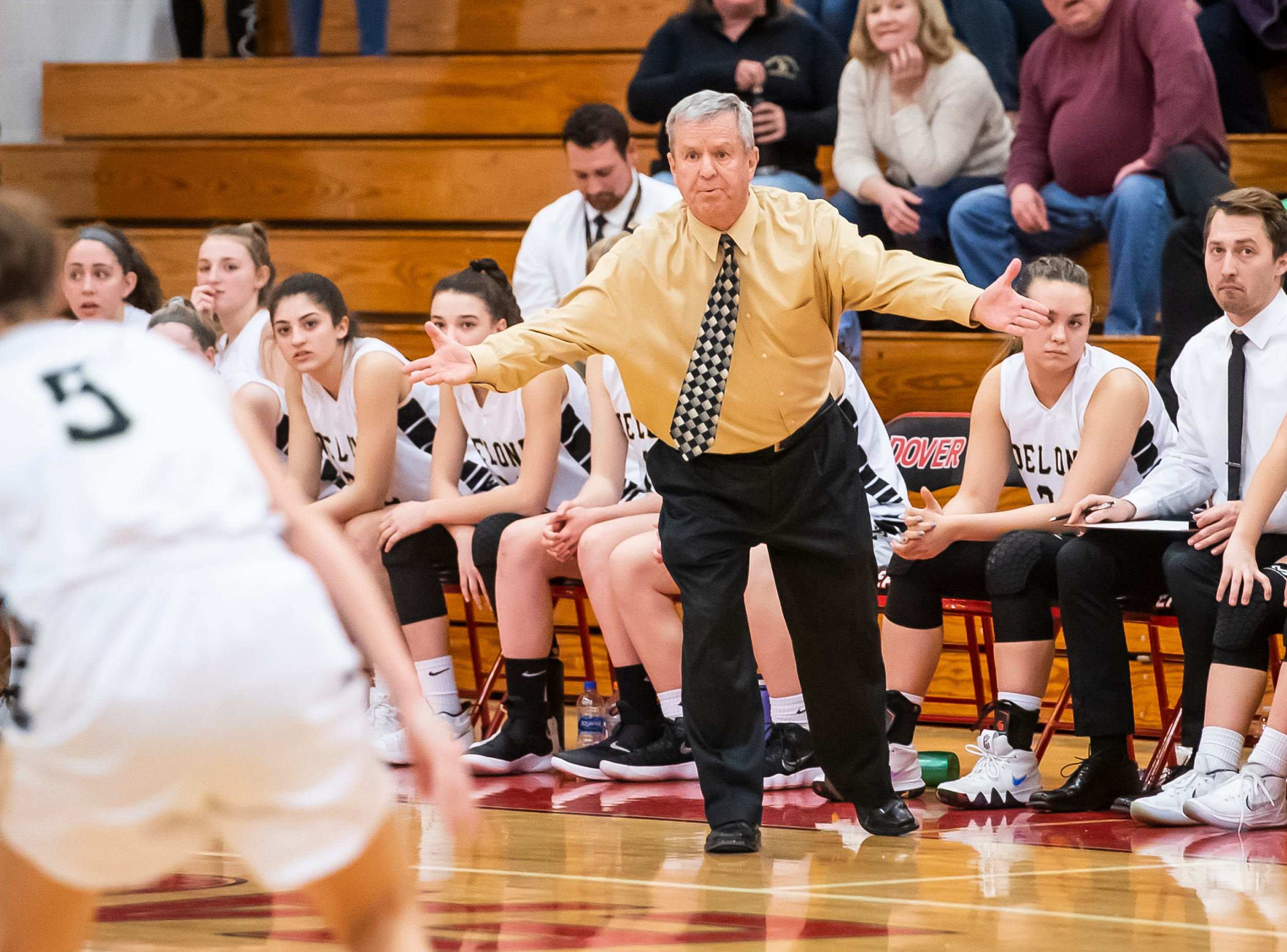Delone Catholic head coach Gerry Eckenrode reacts late in the fourth quarter of play against Gettysburg in a YAIAA quarterfinal game at Dover High School Friday, February 8, 2019.