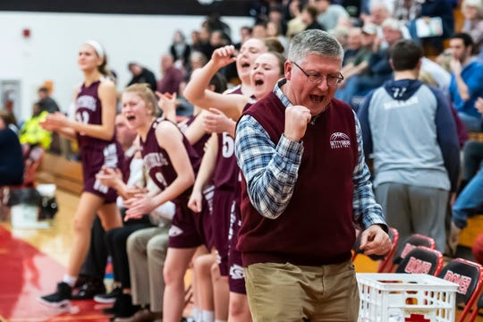 In this file photo, Gettysburg coach Jeff Bair reacts after the Warriors score a basket during play against Delone Catholic in a YAIAA quarterfinal game at Dover High School Friday, February 8, 2019