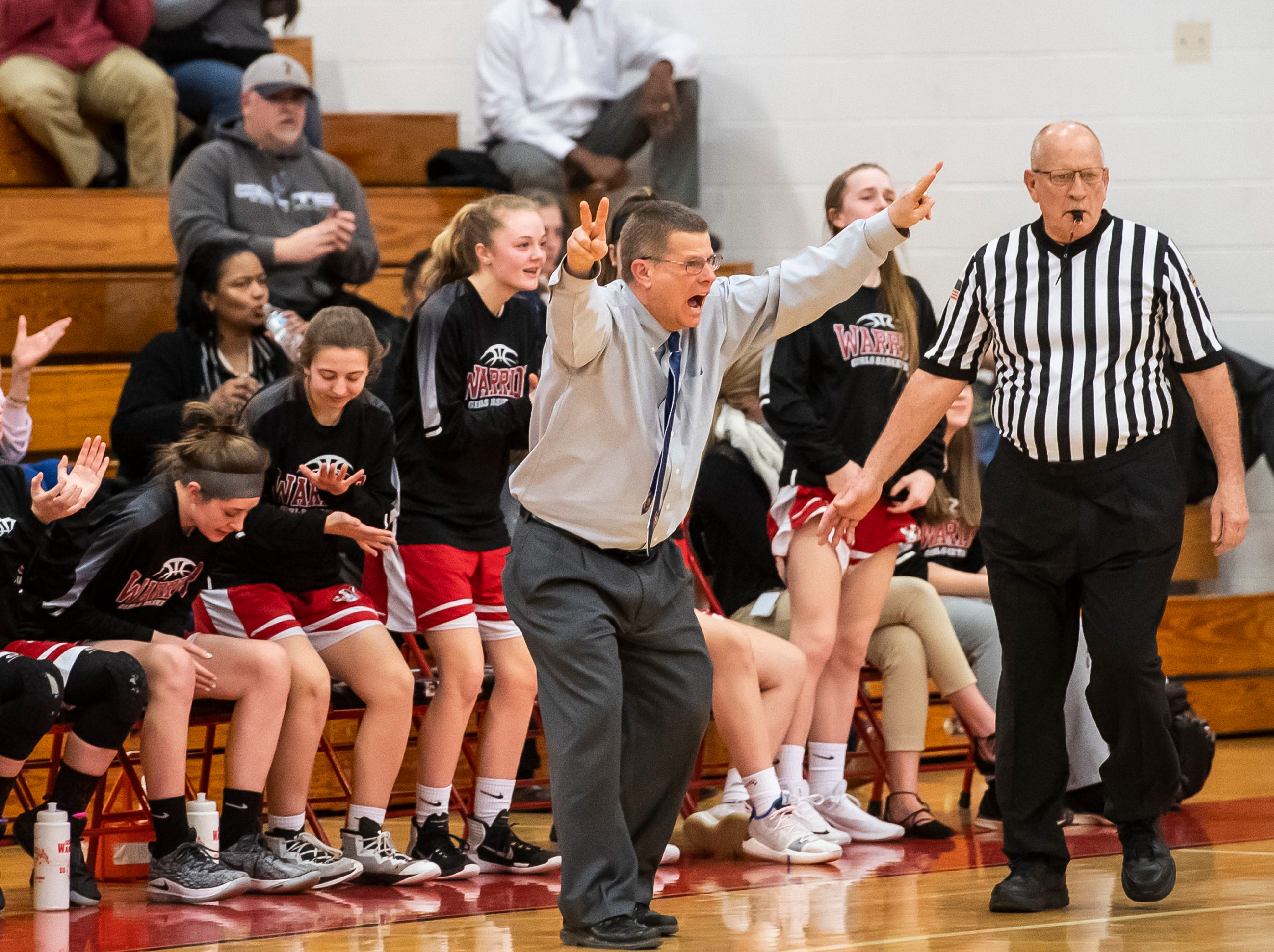 Susquehannock head coach Dave Shreiner reacts after the Warriors score against Dallastown in a YAIAA quarterfinal game at Dover High School Friday, February 8, 2019. The Wildcats won 42-29.