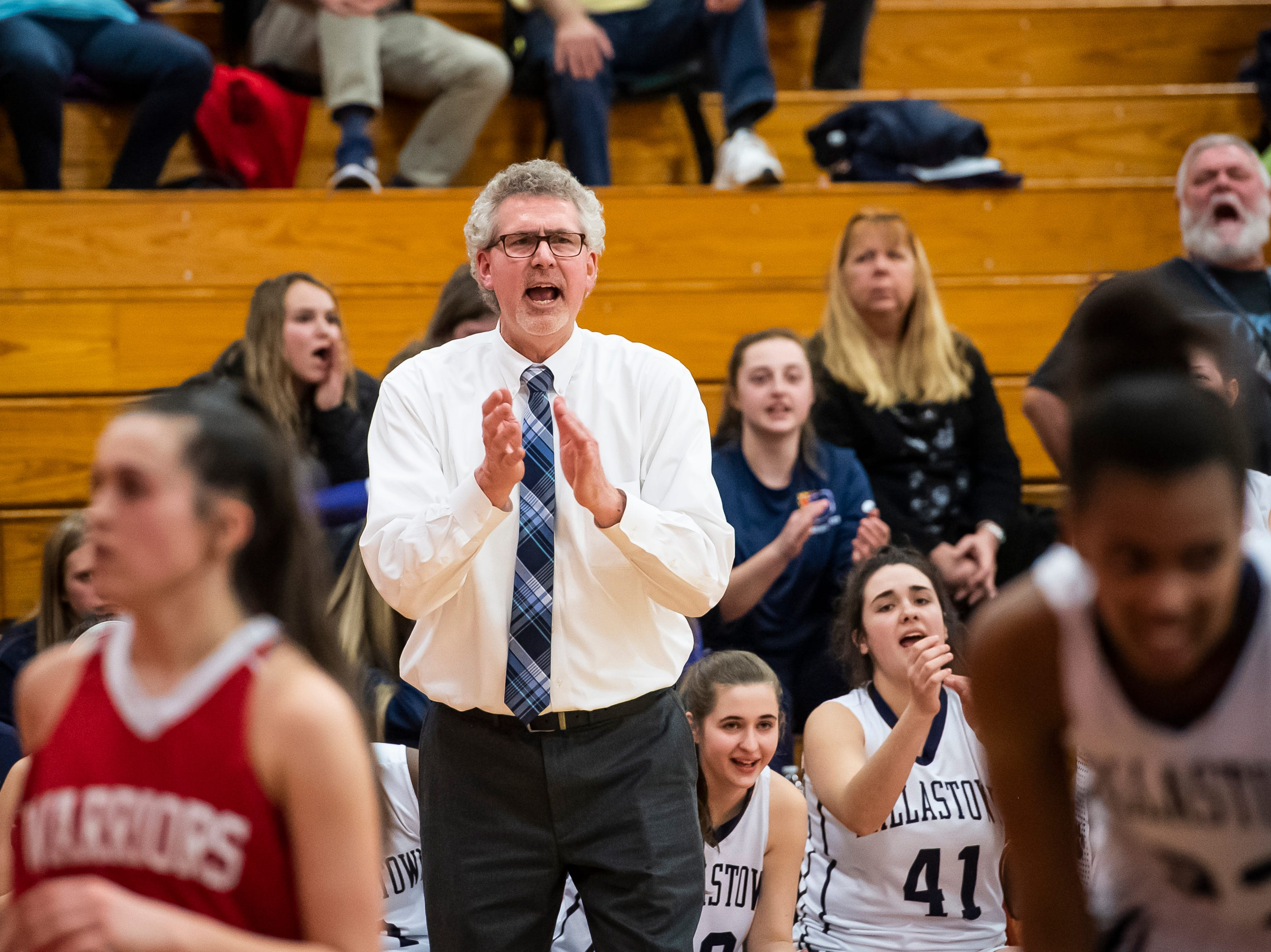 "Dallastown head coach Jay Rexroth claps after the Wildcats score against Susquehannock in a YAIAA quarterfinal game at Dover High School Friday, February 8, 2019. The Wildcats won 42-29. ""Our key all year has been locking people down, and (Gettysburg) is going to be a big challenge on Tuesday,"" Rexroth said."