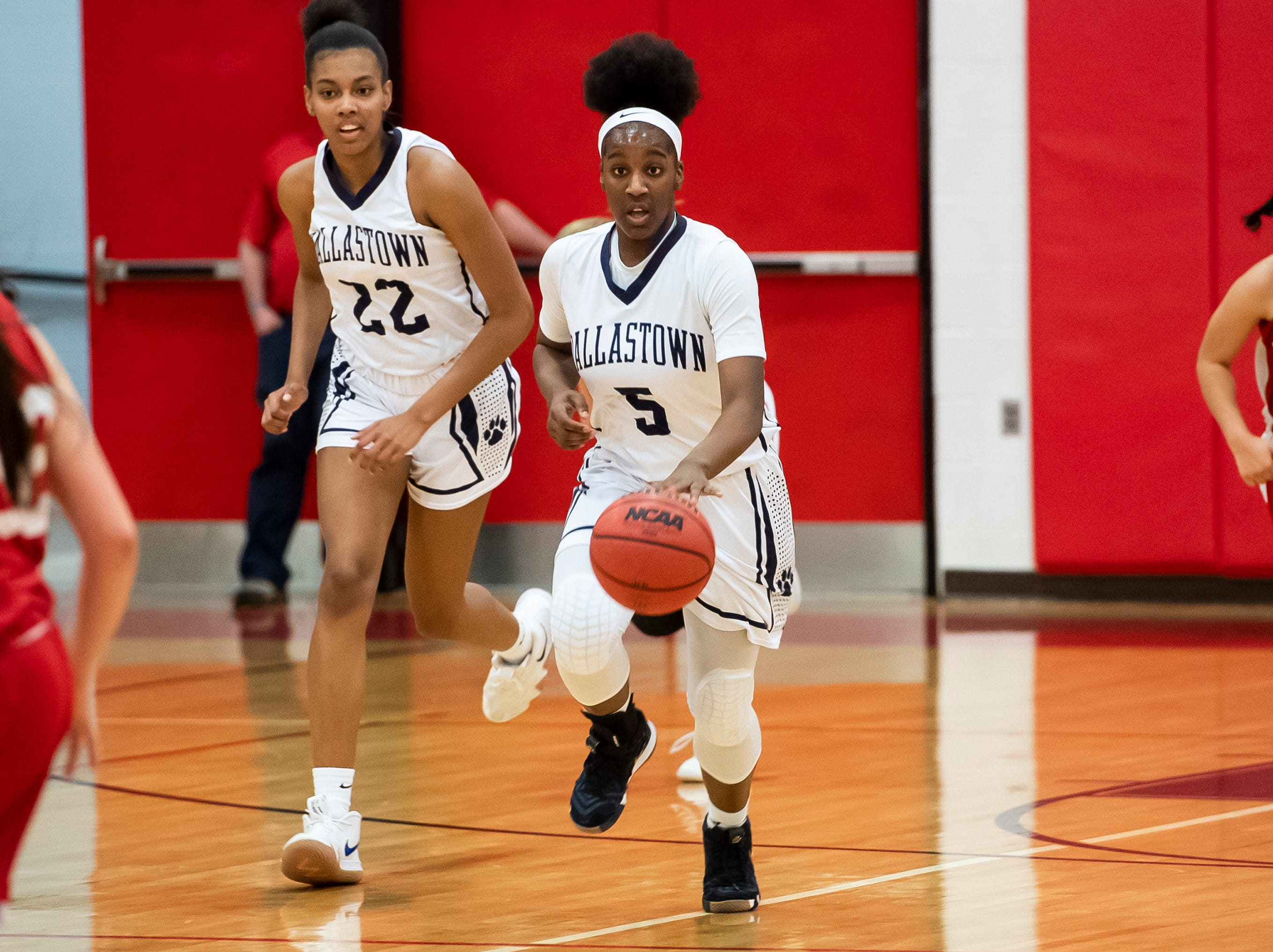 """Dallastonw's D'Shantae Edwards dribbles down the court during play against Susquehannock in a YAIAA quarterfinal game at Dover High School Friday, February 8, 2019. """"We were scrambling, and she had never played point before,"""" coach Jay Rexroth said of Edwards, a freshman, starting as the team's point guard. """"She jumped in with both feet and was willing to learn, and she has done a great job and just keeps getting better and better."""""""