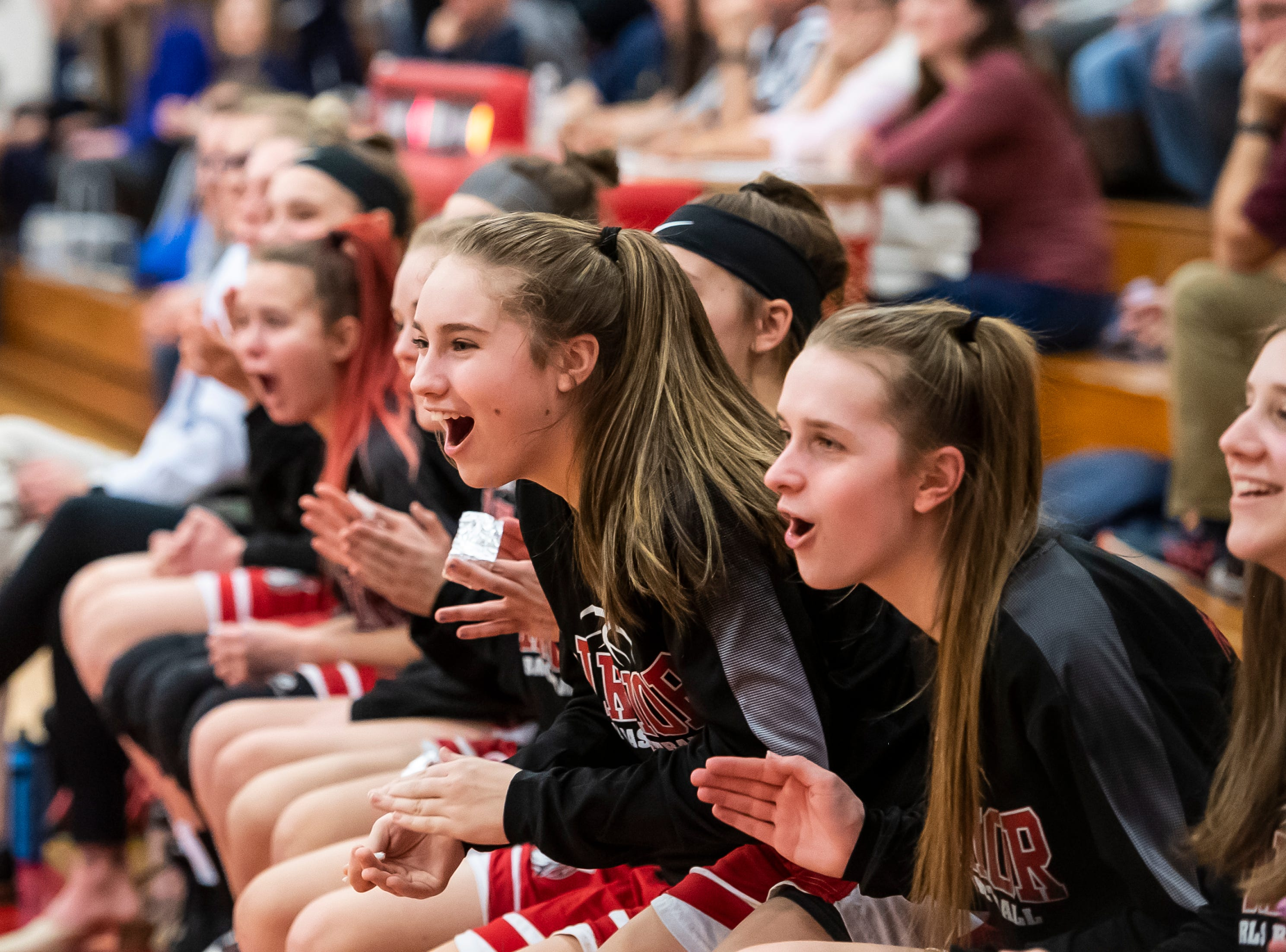 The Susquehannock bench reacts after Jaden Walker blocks a shot from Dallastown's D'Shantae Edwards in a YAIAA quarterfinal game at Dover High School Friday, February 8, 2019. The Wildcats won 42-29.
