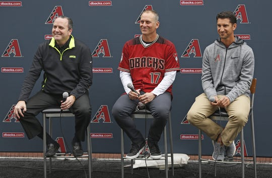 Diamondbacks' President Derrick Hall (L), manager Torey Lovullo and General Manager Mike Hazen answer questions from fans during the Diamondbacks Fan Fest at Salt River at Talking Sticks on February 9, 2019.