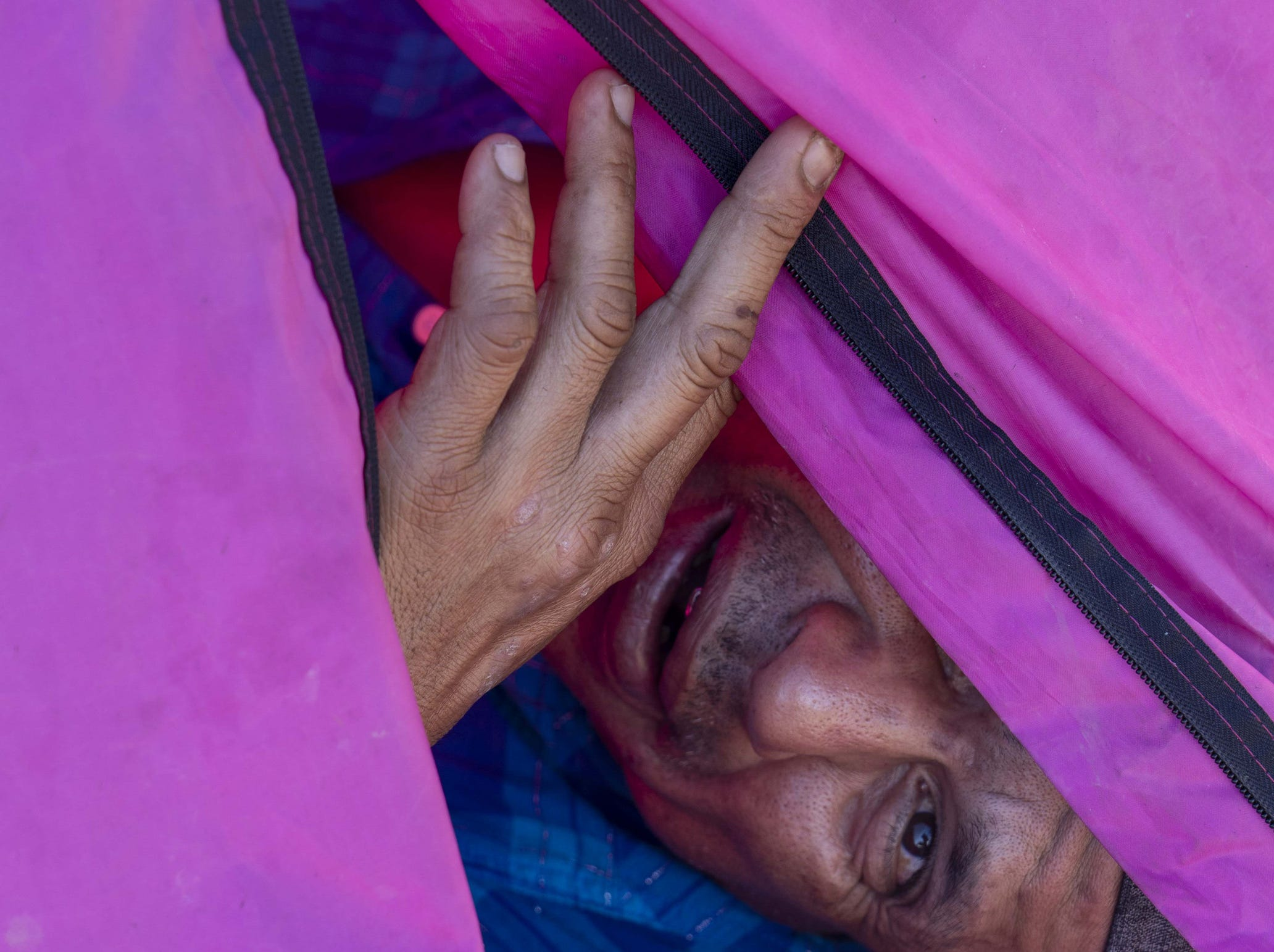 Migrant Gabriel Rosales, a recent deportee, stays at a make-shift shelter in Tijuana, Mexico, February 2019.