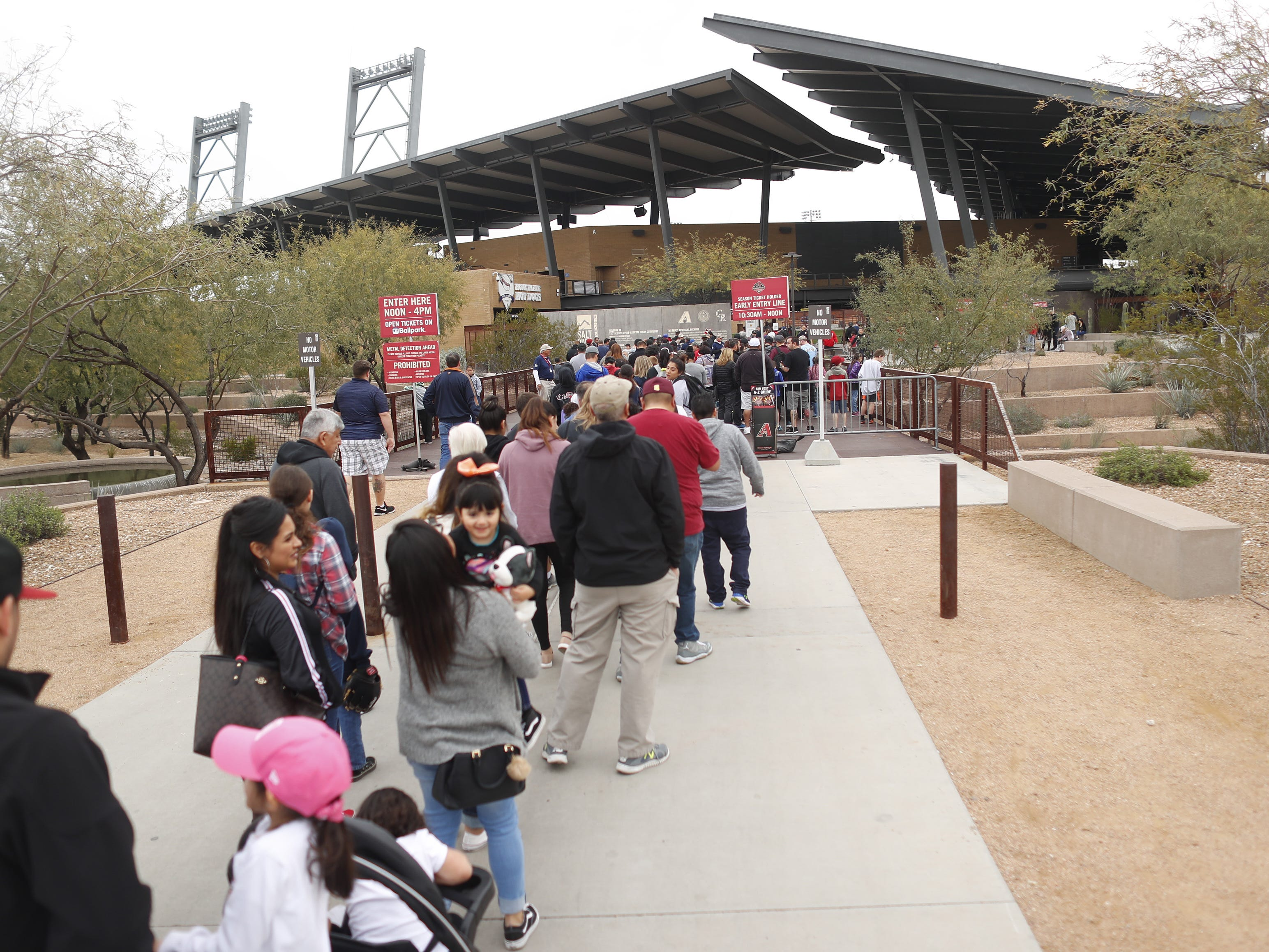 Fans line up for entry into the Diamondbacks Fan Fest at Salt River at Talking Sticks on February 9, 2019.