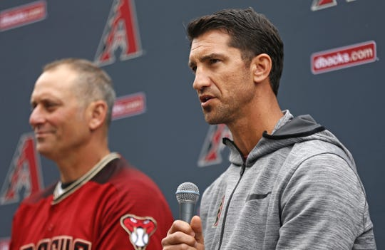 Diamondbacks' General Manager Mike Hazen answers questions from fans with manager Torey Lovullo (L) during the Diamondbacks Fan Fest at Salt River at Talking Sticks on February 9, 2019.