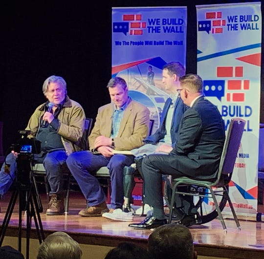 Steve Bannon (L), former adviser to President Trump, is joined by Brian Kolfage, founder of 'We Build The Wall,' and former Kansas Secretary of State Kris Koback, during a public discussion of border issues in Green Valley Friday night.