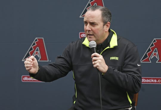 Diamondbacks' President Derrick Hall answers questions from fans during the Diamondbacks Fan Fest at Salt River at Talking Sticks on February 9, 2019.