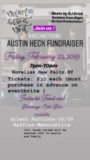 A fundraising dinner will be held at Novellas in New Paltz in honor of Austin Heck, an Arlington graduate fighting cancer.