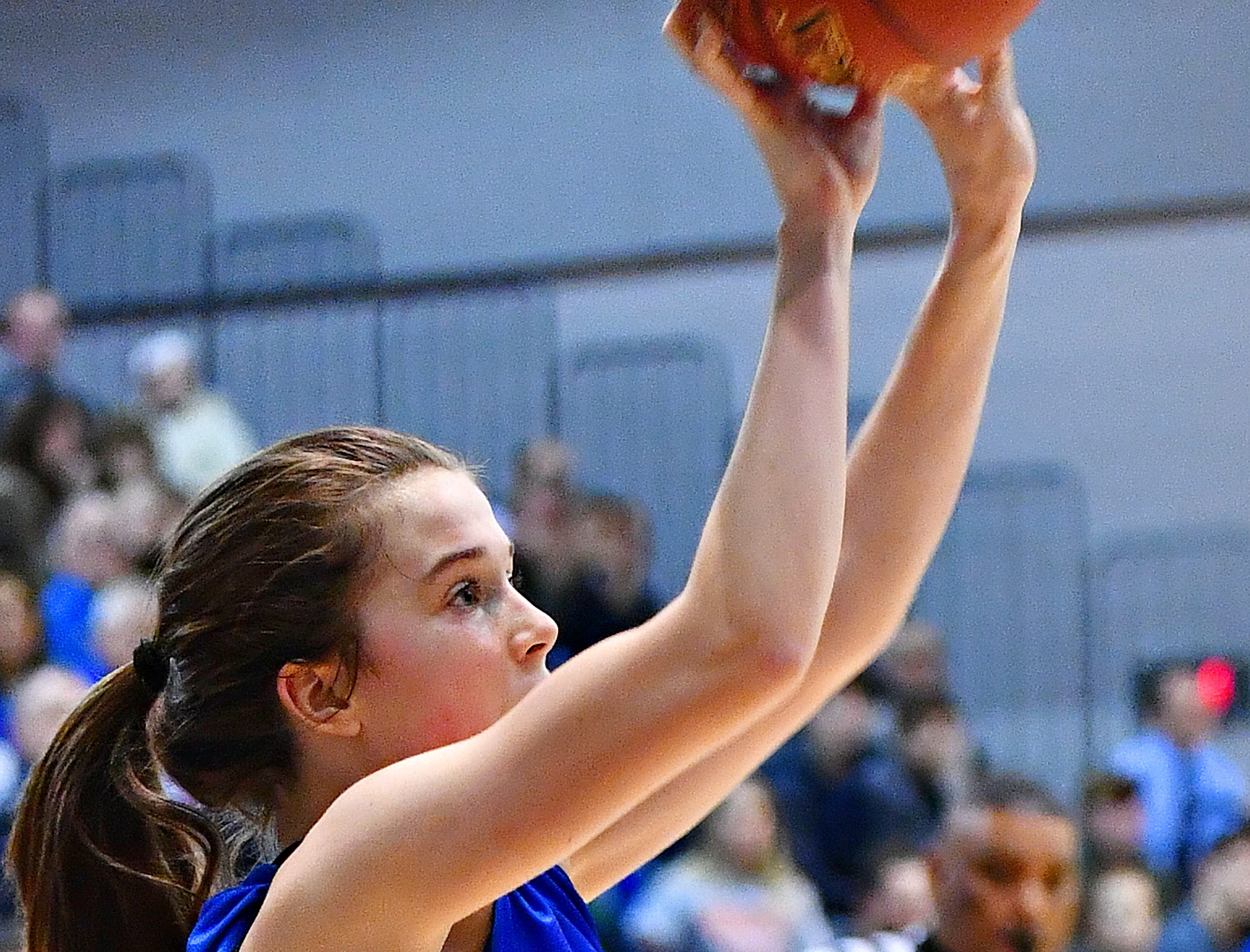 Spring Grove's Ella Kale lines up her shot during York-Adams League girls' basketball quarterfinal action at against Kennard-Dale at Dallastown Area High School in York Township, Friday, Feb. 8, 2019. Spring Grove would win the game 47-38. Dawn J. Sagert photo