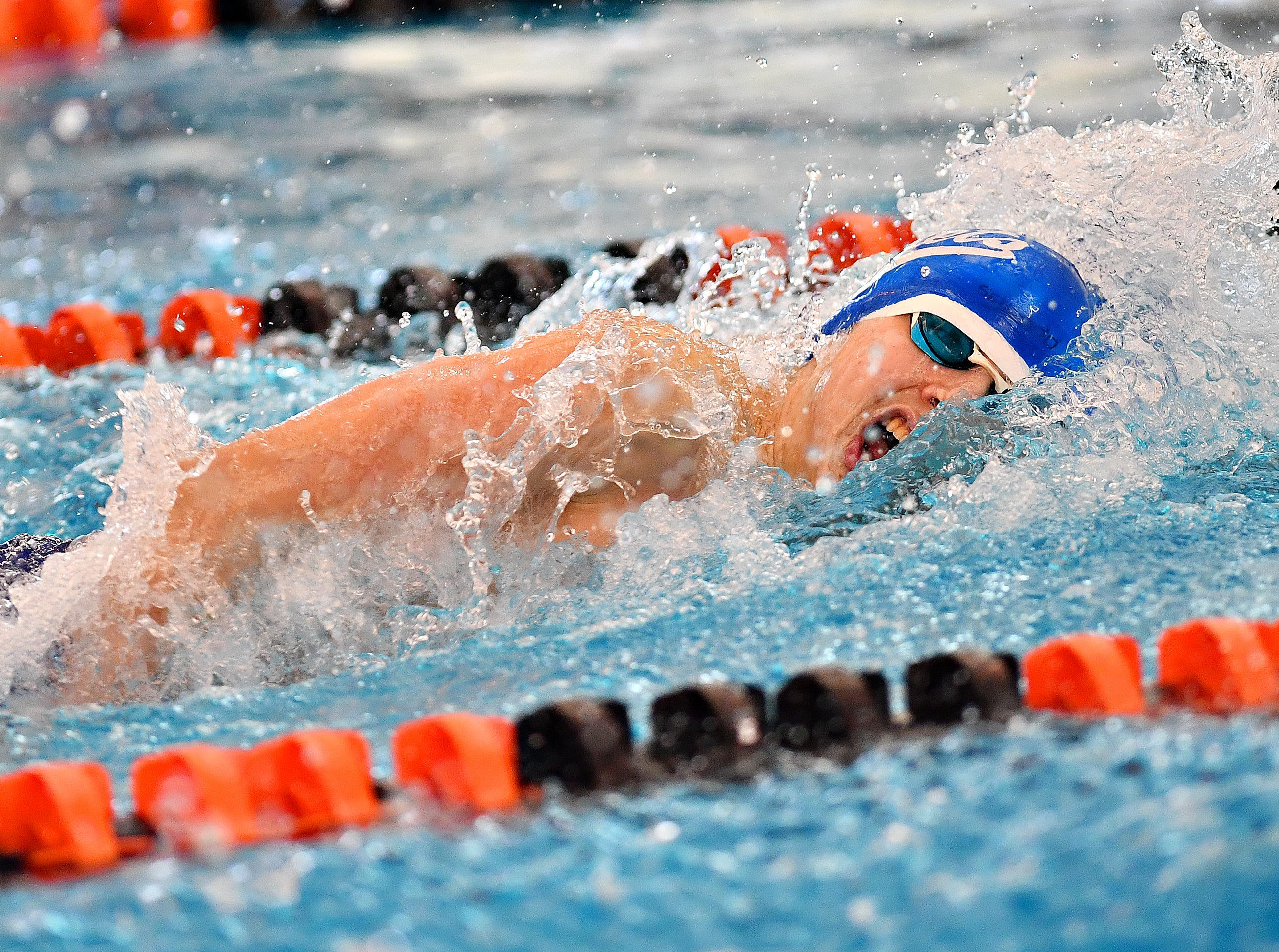 Spring Grove's Daniel K. Gordon competes in the 100 Yard Freestyle event during the York-Adams League Swimming Championship at Central York High School in Springettsbury Township, Saturday, Feb. 9, 2019. Dawn J. Sagert photo