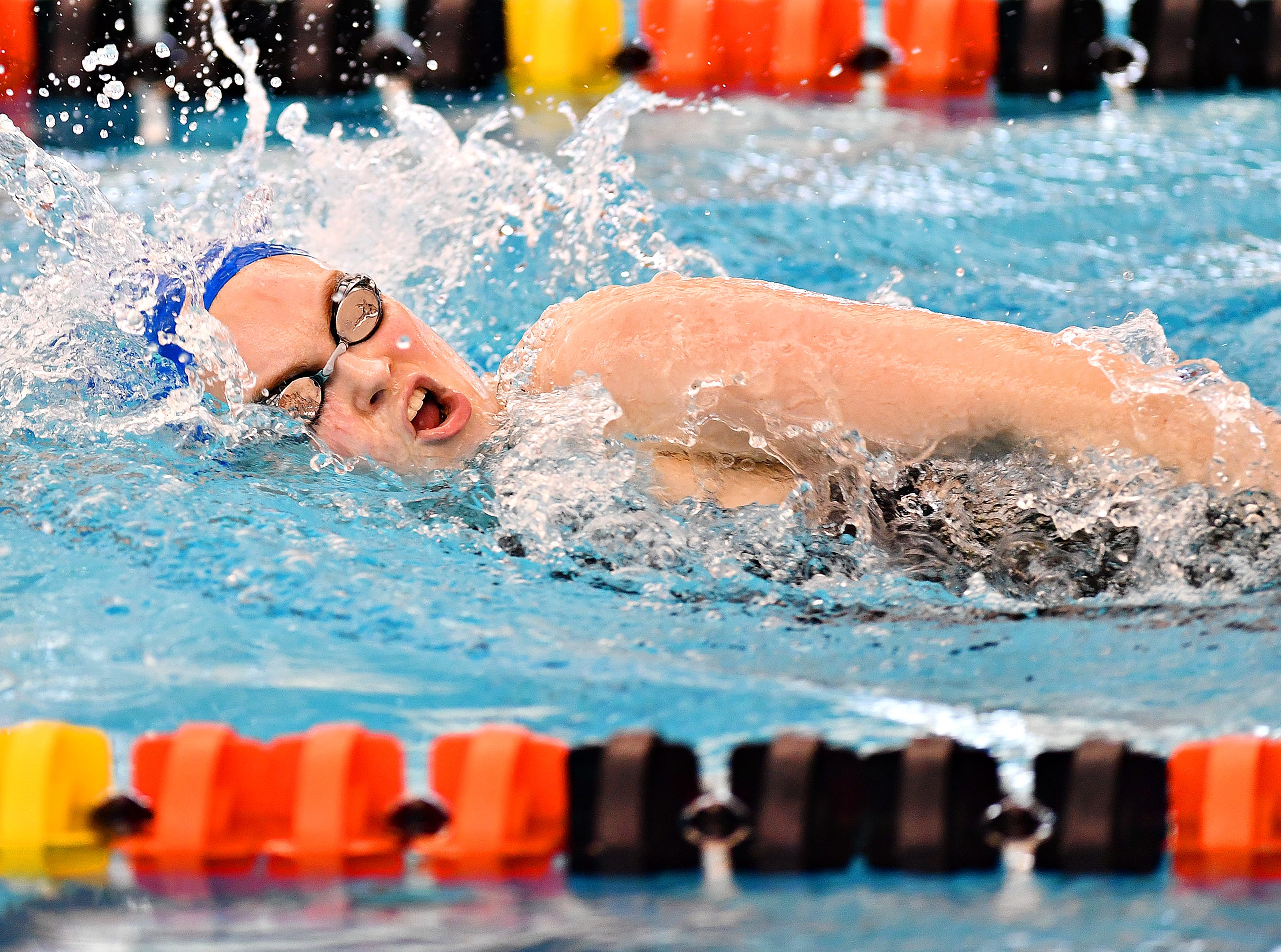 Spring Grove's Ella C. Calder competes in the 500 Yard Freestyle event during York-Adams League Swimming Championship at Central York High School in Springettsbury Township, Saturday, Feb. 9, 2019. Dawn J. Sagert photo