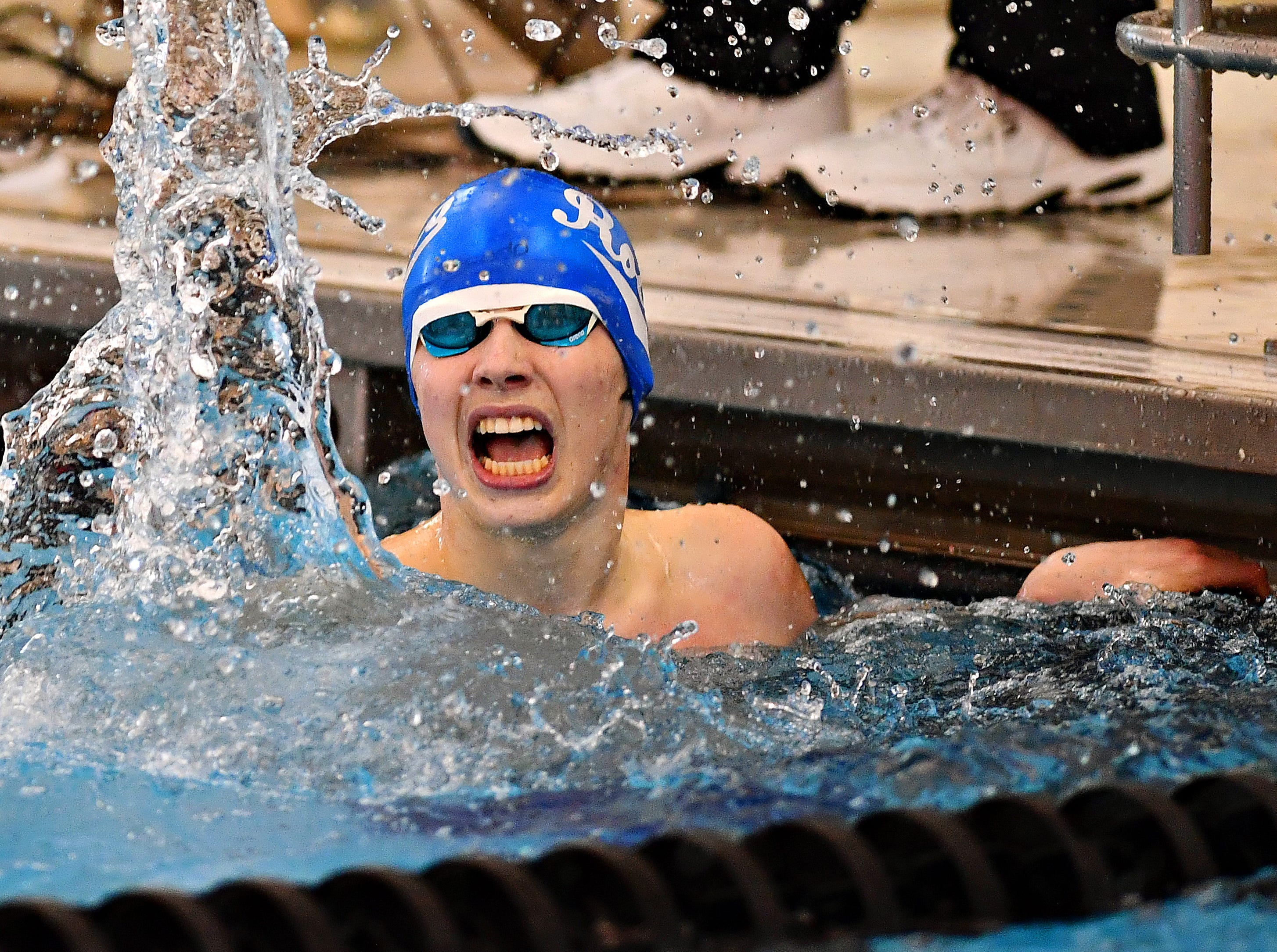 Spring Grove's Daniel K. Gordon reacts after winning the 100 Yard Freestyle event during the York-Adams League Swimming Championship at Central York High School in Springettsbury Township, Saturday, Feb. 9, 2019. Dawn J. Sagert photo