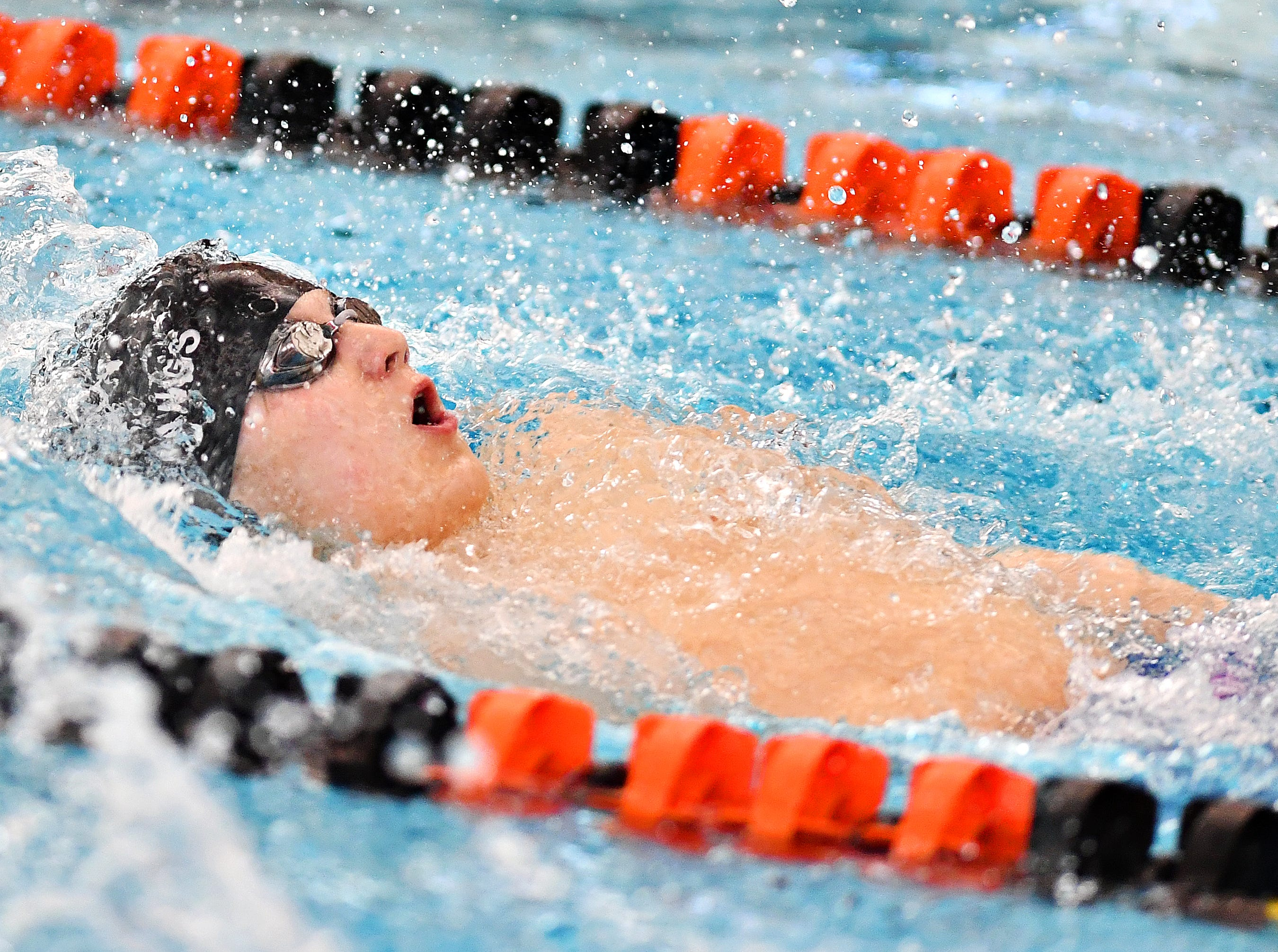 South Western's Jeremy Hargis competes in the 100 Yard Backstroke event during the York-Adams League Swimming Championship at Central York High School in Springettsbury Township, Saturday, Feb. 9, 2019. Dawn J. Sagert photo