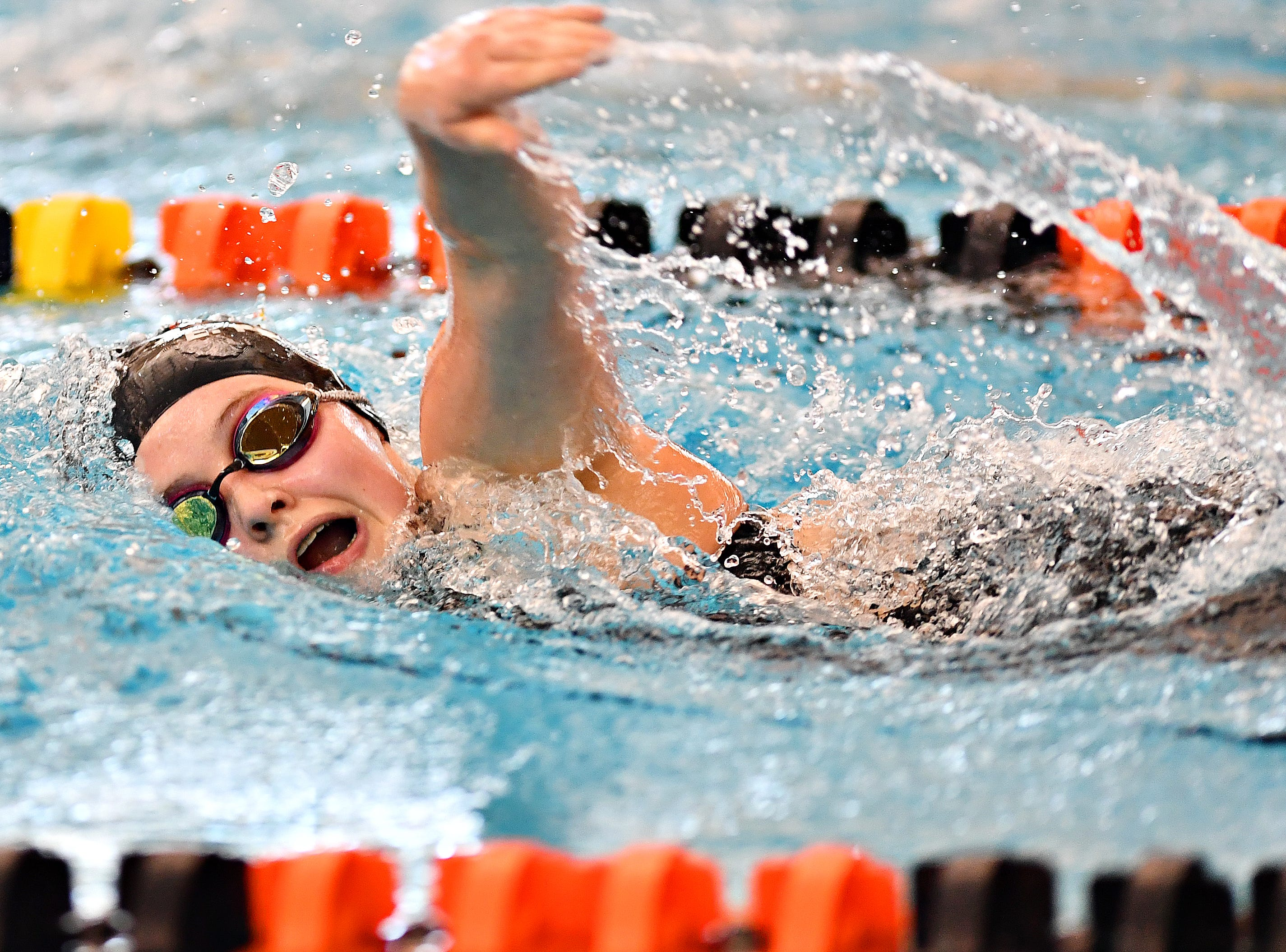 Dover's Emma Pequignot competes in the 500 Yard Freestyle event during York-Adams League Swimming Championship at Central York High School in Springettsbury Township, Saturday, Feb. 9, 2019. Dawn J. Sagert photo