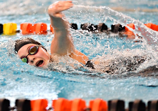 Dover's Emma Pequignot competes in the 500 freestyle during the York-Adams League Swimming Championships at Central York High School last February. Pequignot and her Eagles teammates will compete in the old Dover pool for a final time this season.