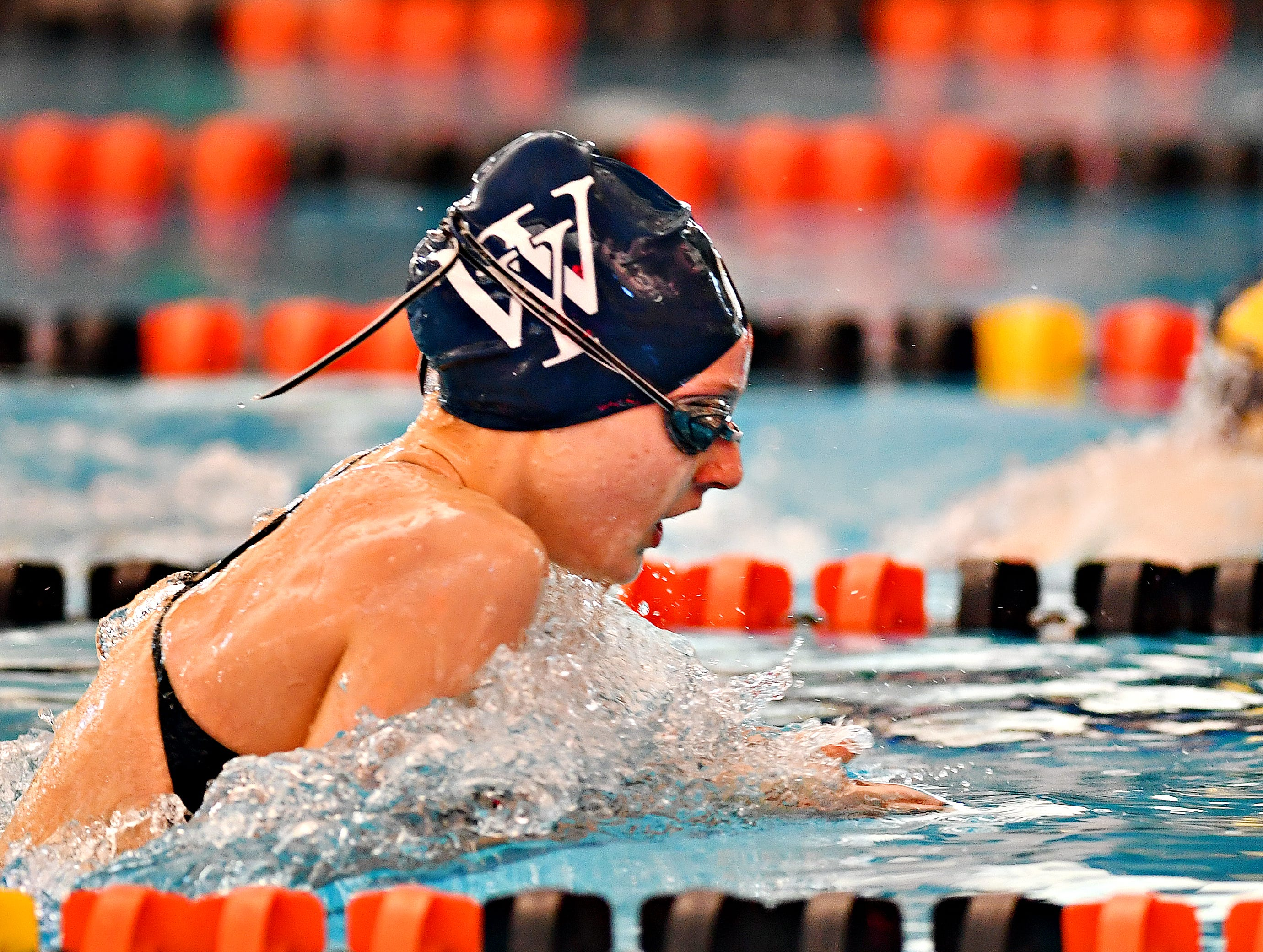 West York's Meaghan Harnish competes in the 100 Yard Breaststroke event during York-Adams League Swimming Championship at Central York High School in Springettsbury Township, Saturday, Feb. 9, 2019. Harnish would win the event at 1:05.86. Dawn J. Sagert photo