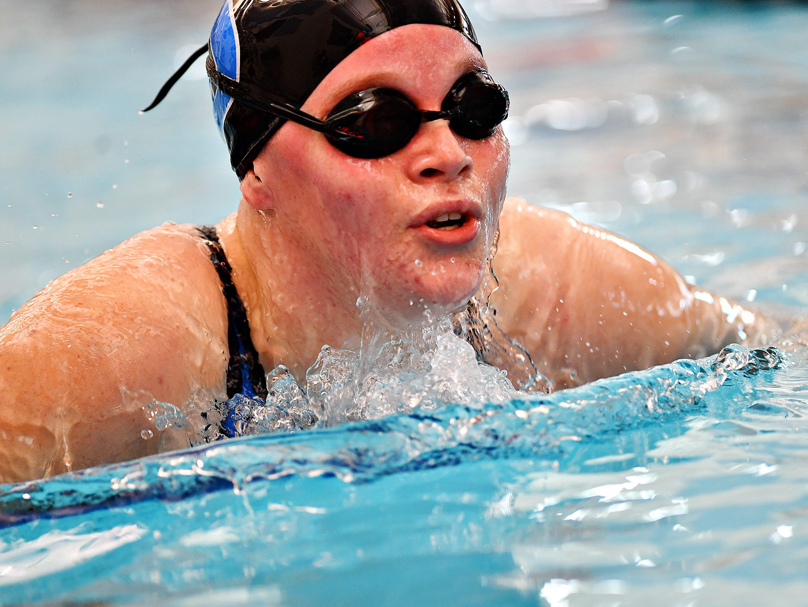 Dallastown's Marissa Locondro competes in the 100 Yard Breaststroke event during York-Adams League Swimming Championship at Central York High School in Springettsbury Township, Saturday, Feb. 9, 2019. Dawn J. Sagert photo