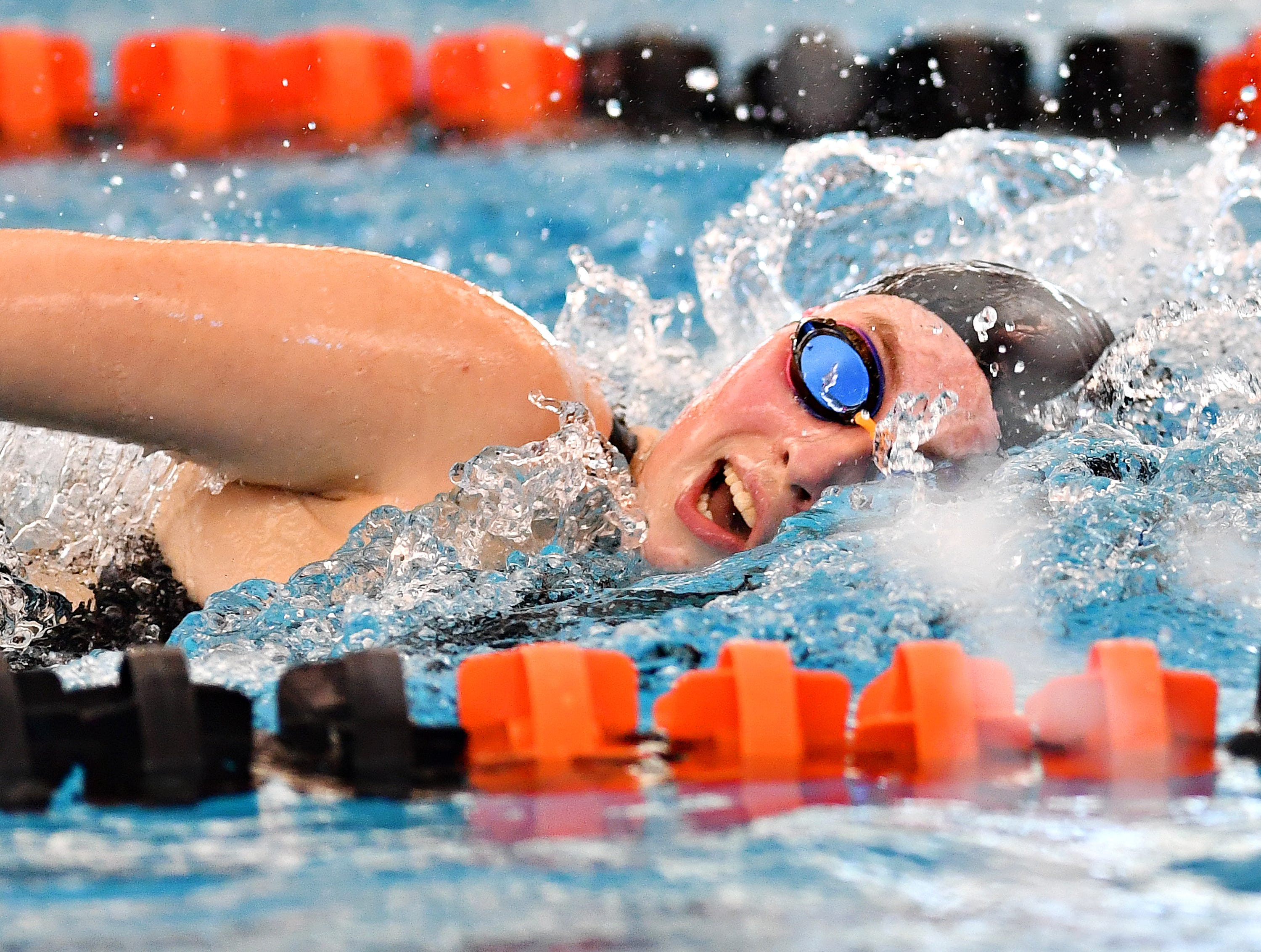 York Suburban's Hannah Lawton swims anchor in the 400 Yard Freestyle Relay event during York-Adams League Swimming Championship at Central York High School in Springettsbury Township, Saturday, Feb. 9, 2019. Dawn J. Sagert photo