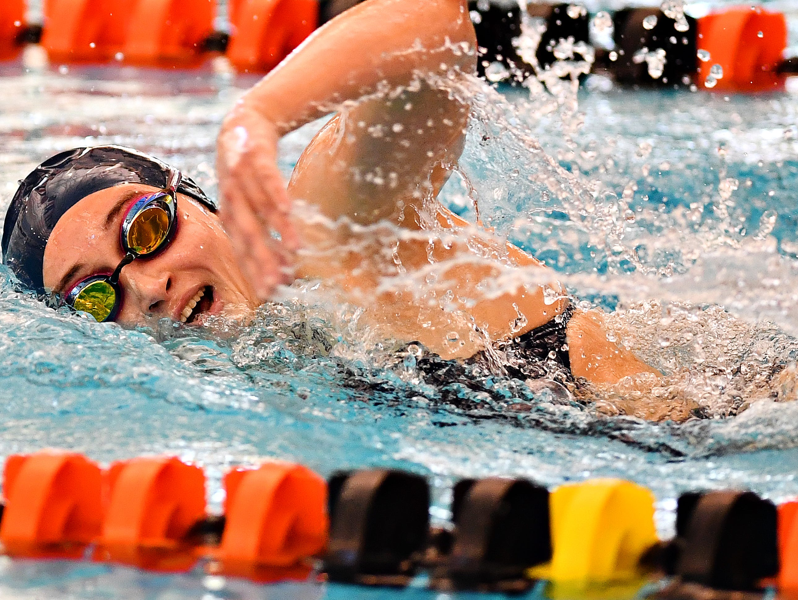 West York's Meghan French competes in the 500 Yard Freestyle event during York-Adams League Swimming Championship at Central York High School in Springettsbury Township, Saturday, Feb. 9, 2019. French would win the event at 5:08.48. Dawn J. Sagert photo