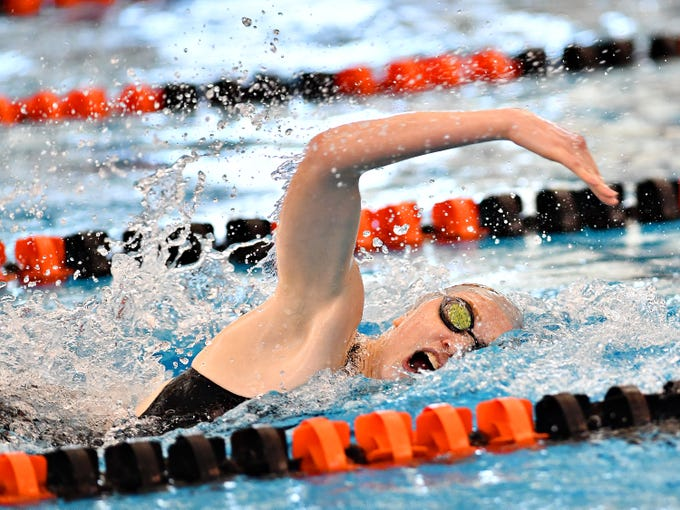 Central York's Gabby Miller swims anchor in the 400 Yard Freestyle Relay event during York-Adams League Swimming Championship at Central York High School in Springettsbury Township, Saturday, Feb. 9, 2019. Dawn J. Sagert photo