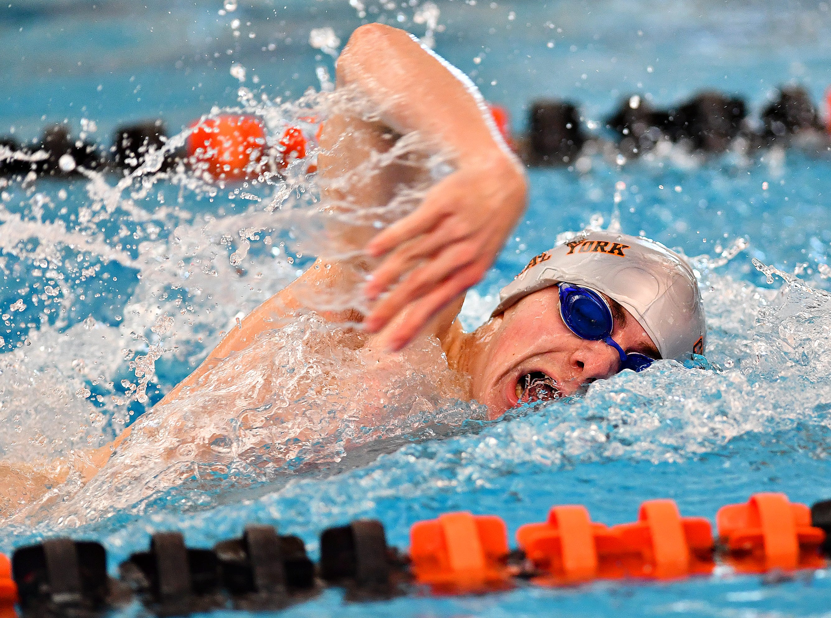 Central York's Lucas Tate competes in the 400 Yard Freestyle Relay event during the York-Adams League Swimming Championship at Central York High School in Springettsbury Township, Saturday, Feb. 9, 2019. Dawn J. Sagert photo