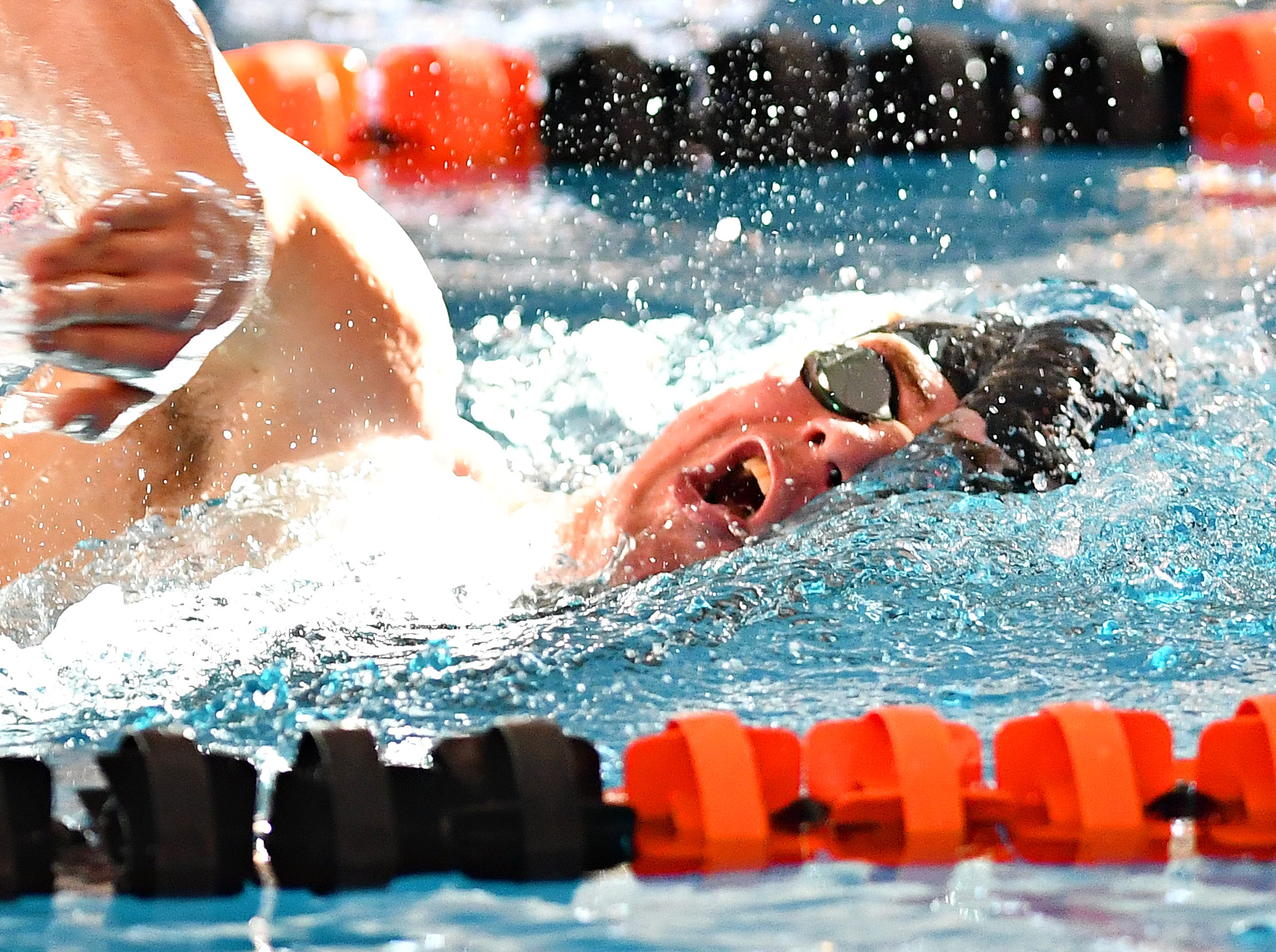York Suburban's Garrett Herink competes in the 500 Yard Freestyle event during the York-Adams League Swimming Championship at Central York High School in Springettsbury Township, Saturday, Feb. 9, 2019. Dawn J. Sagert photo
