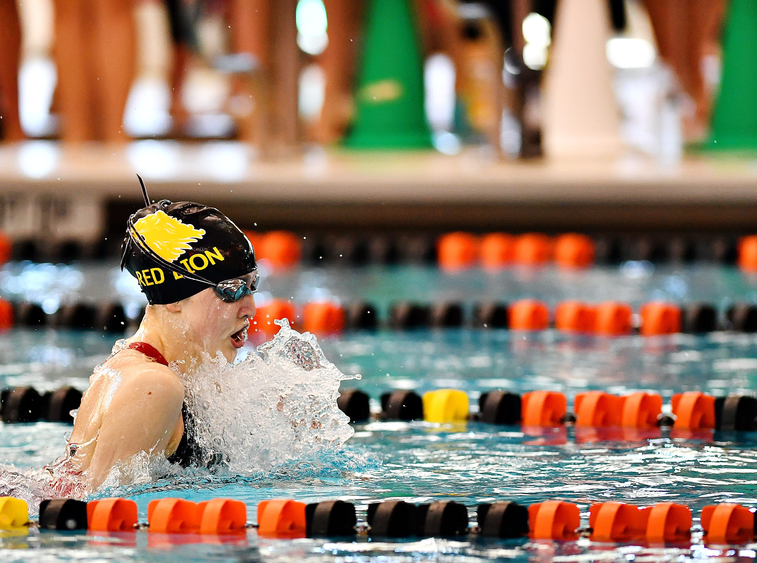 Red Lion's Arabella Butera competes in the 100 Yard Backstroke event during York-Adams League Swimming Championship at Central York High School in Springettsbury Township, Saturday, Feb. 9, 2019. Dawn J. Sagert photo
