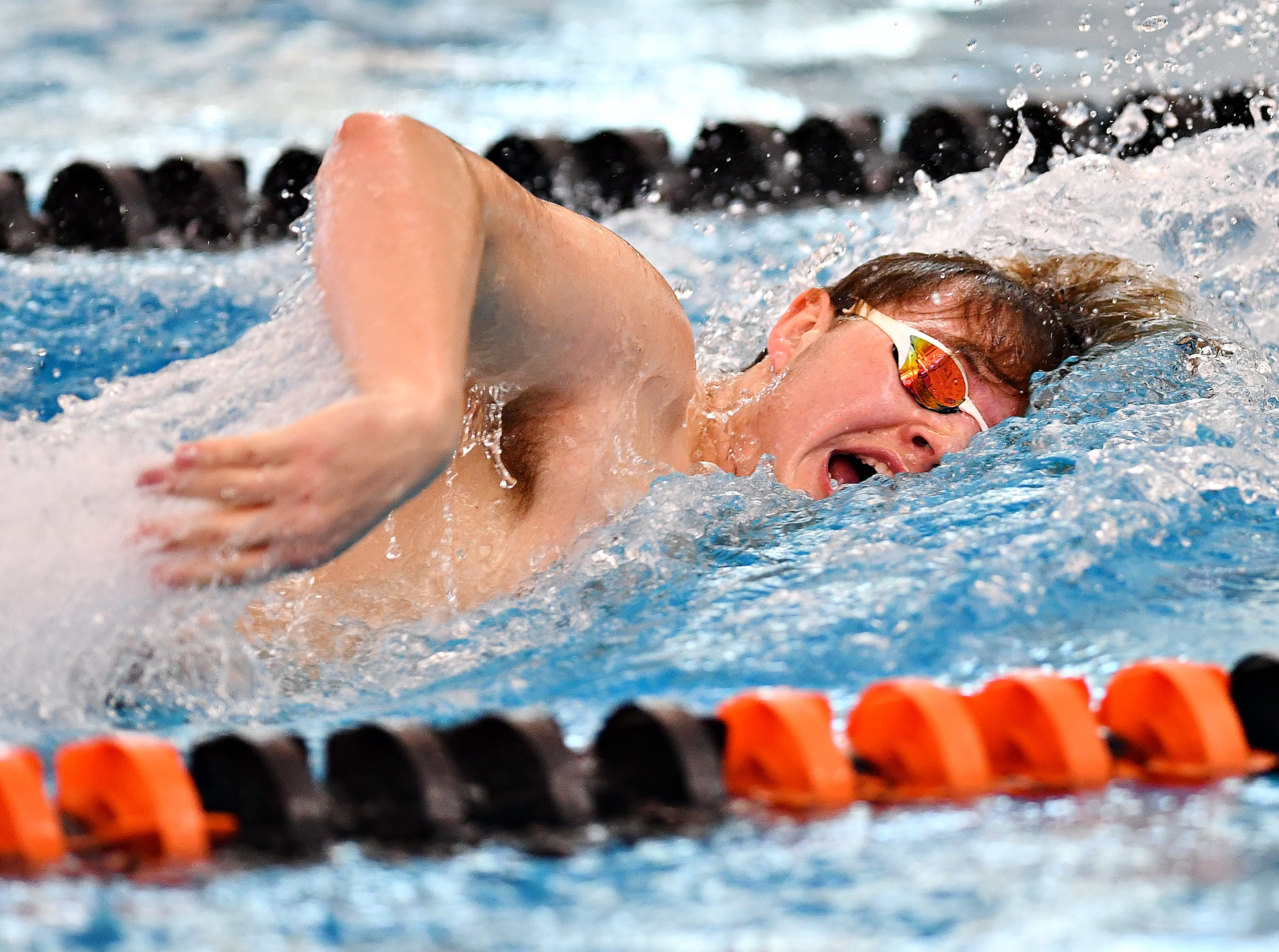 Central York's Cody Beck competes in the 400 Yard Freestyle Relay event during the York-Adams League Swimming Championship at Central York High School in Springettsbury Township, Saturday, Feb. 9, 2019. Dawn J. Sagert photo