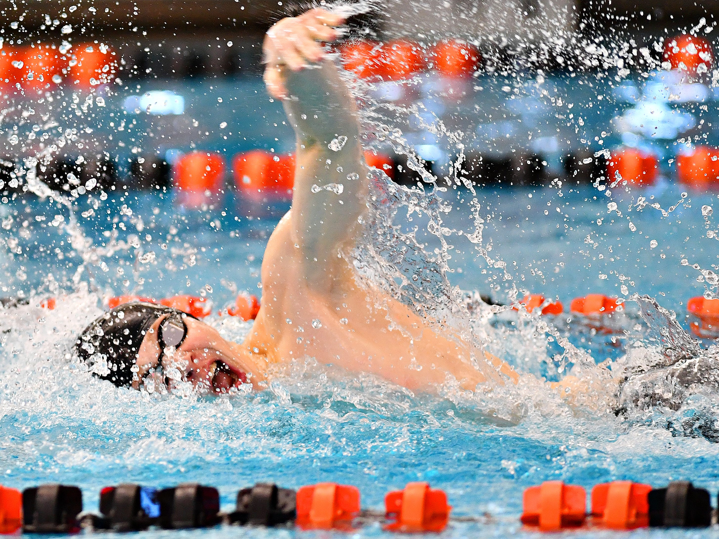 Dallastown's Thomas Smolinski competes in the 100 Yard Freestyle event during the York-Adams League Swimming Championship at Central York High School in Springettsbury Township, Saturday, Feb. 9, 2019. Dawn J. Sagert photo