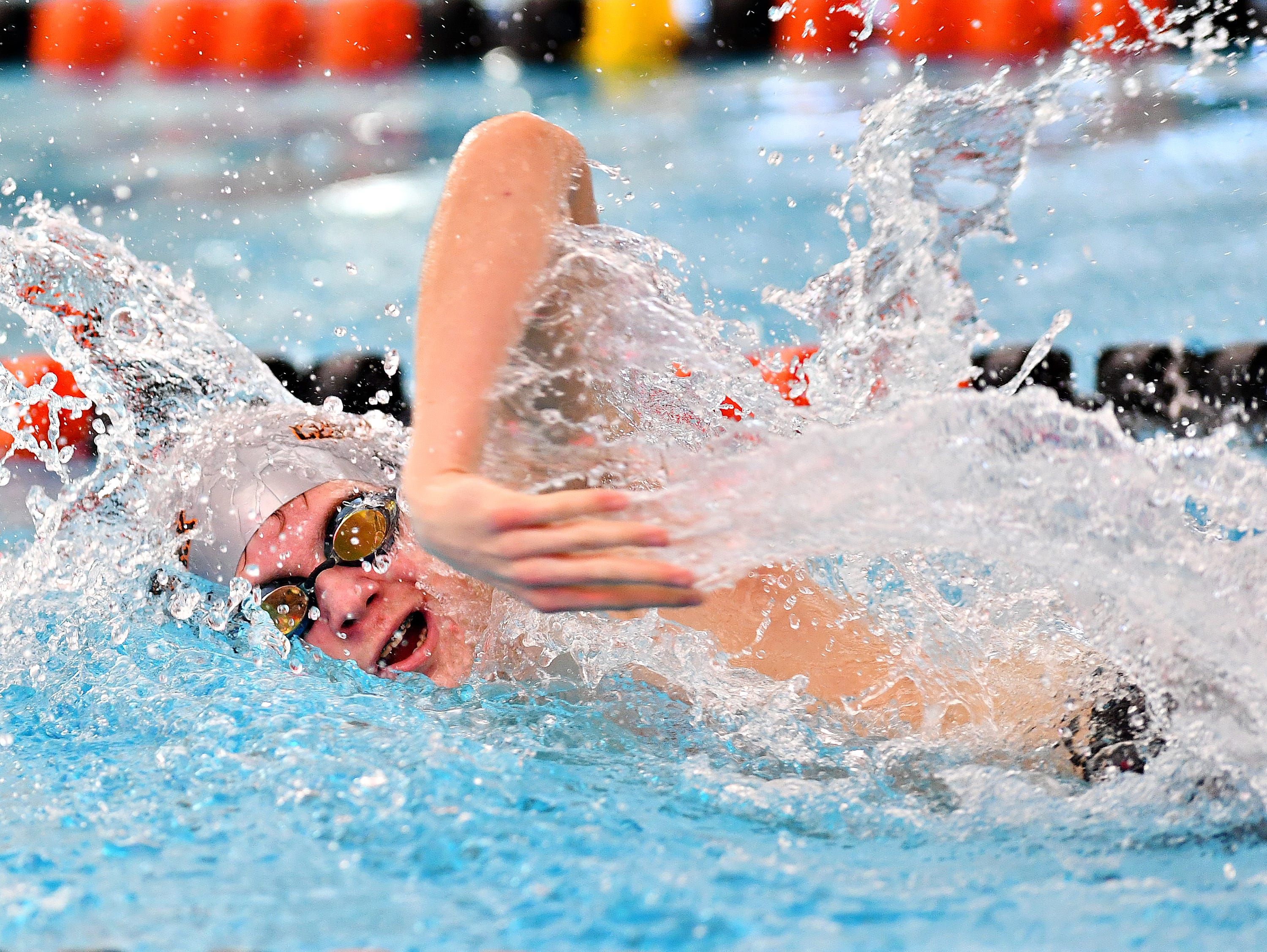 Central York's Nathan Dundas competes in the 400 Yard Freestyle Relay event during the York-Adams League Swimming Championship at Central York High School in Springettsbury Township, Saturday, Feb. 9, 2019. Dawn J. Sagert photo